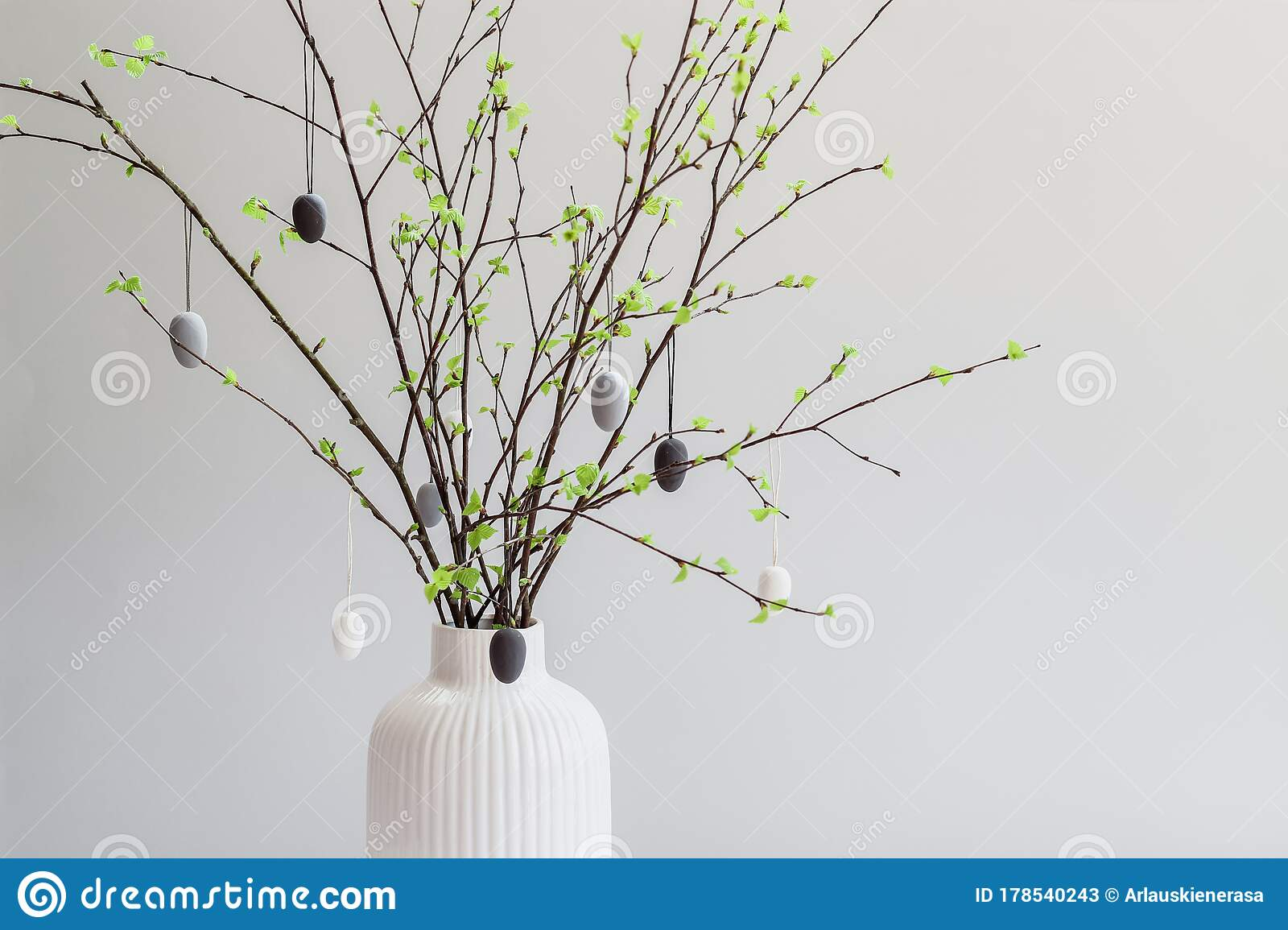 Birch Tree Branches Decorated With White And Gray Painted Eggs Easter Tree Stock Image Image Of Greeting Decoration 178540243