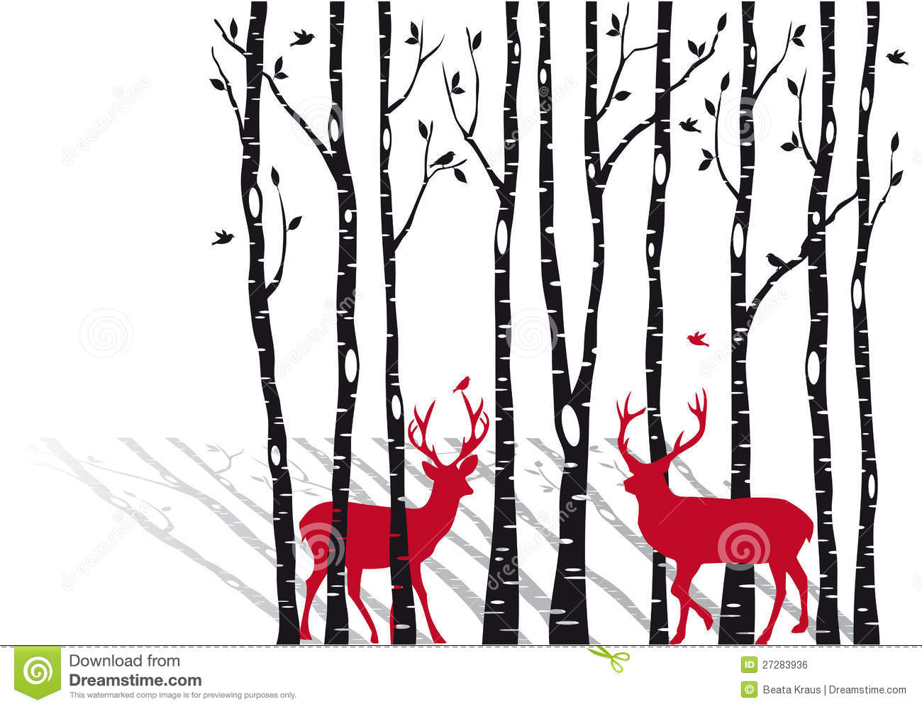 Birch Trees With Christmas Deers Vector Royalty Free