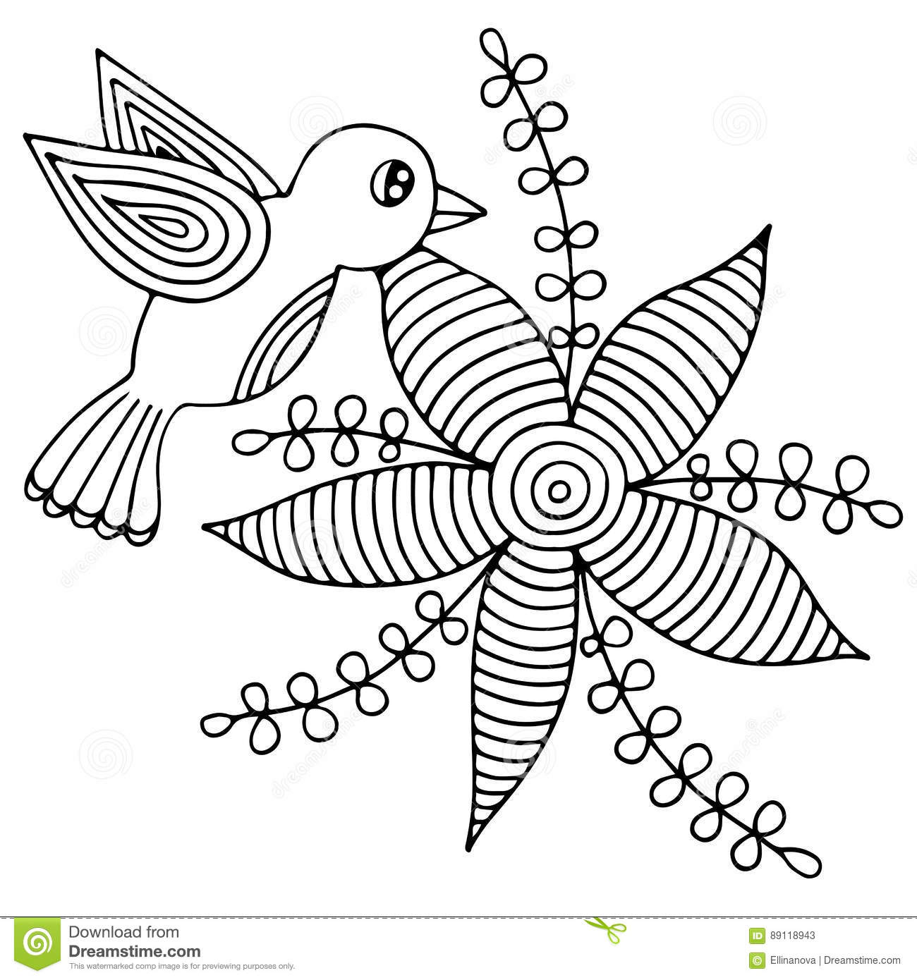 Abstract Bird Coloring Pages : Bird and abstract flower with leaves for adult or child