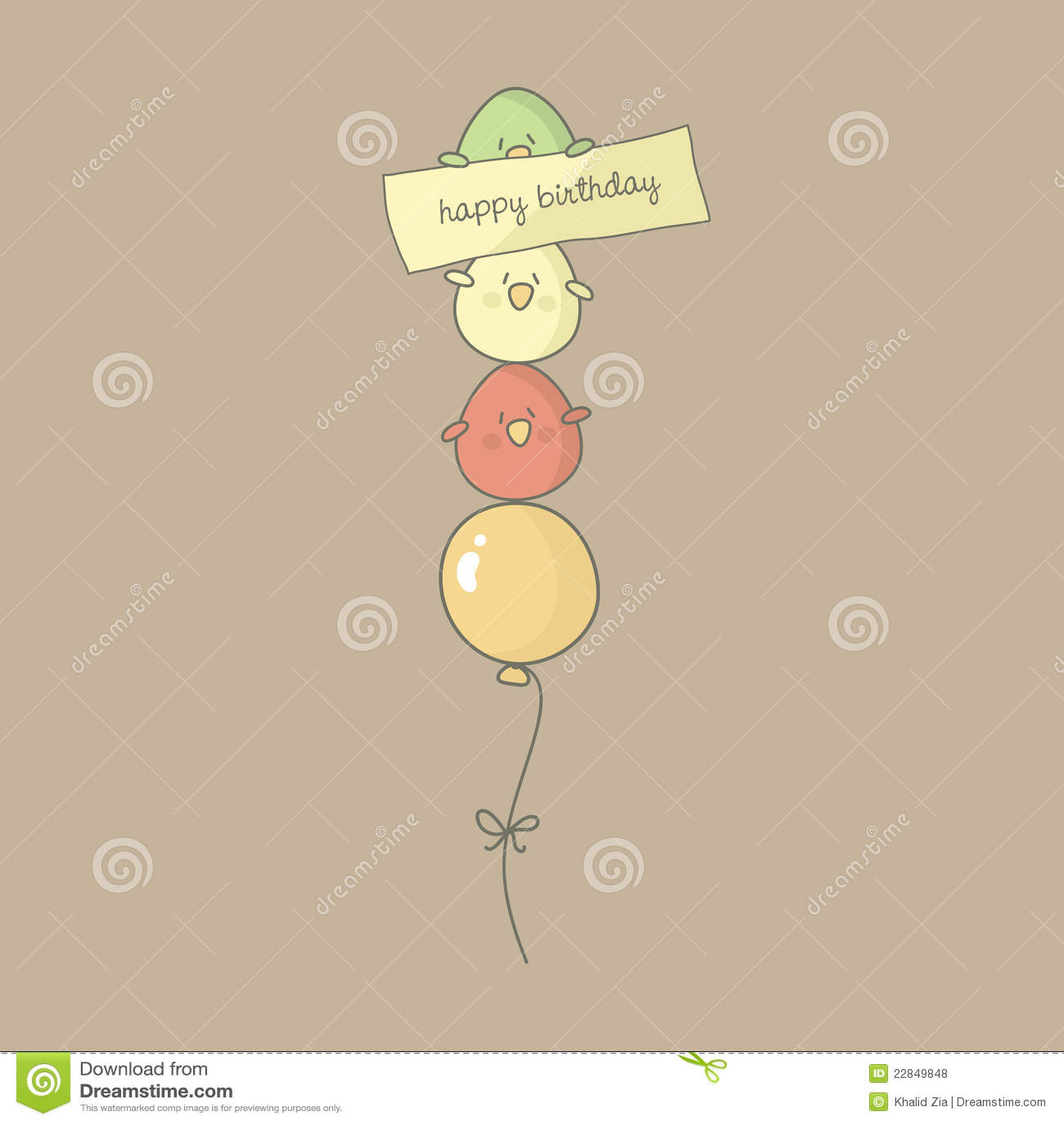Bird Birthday Greeting Card Stock Vector Illustration Of Animal