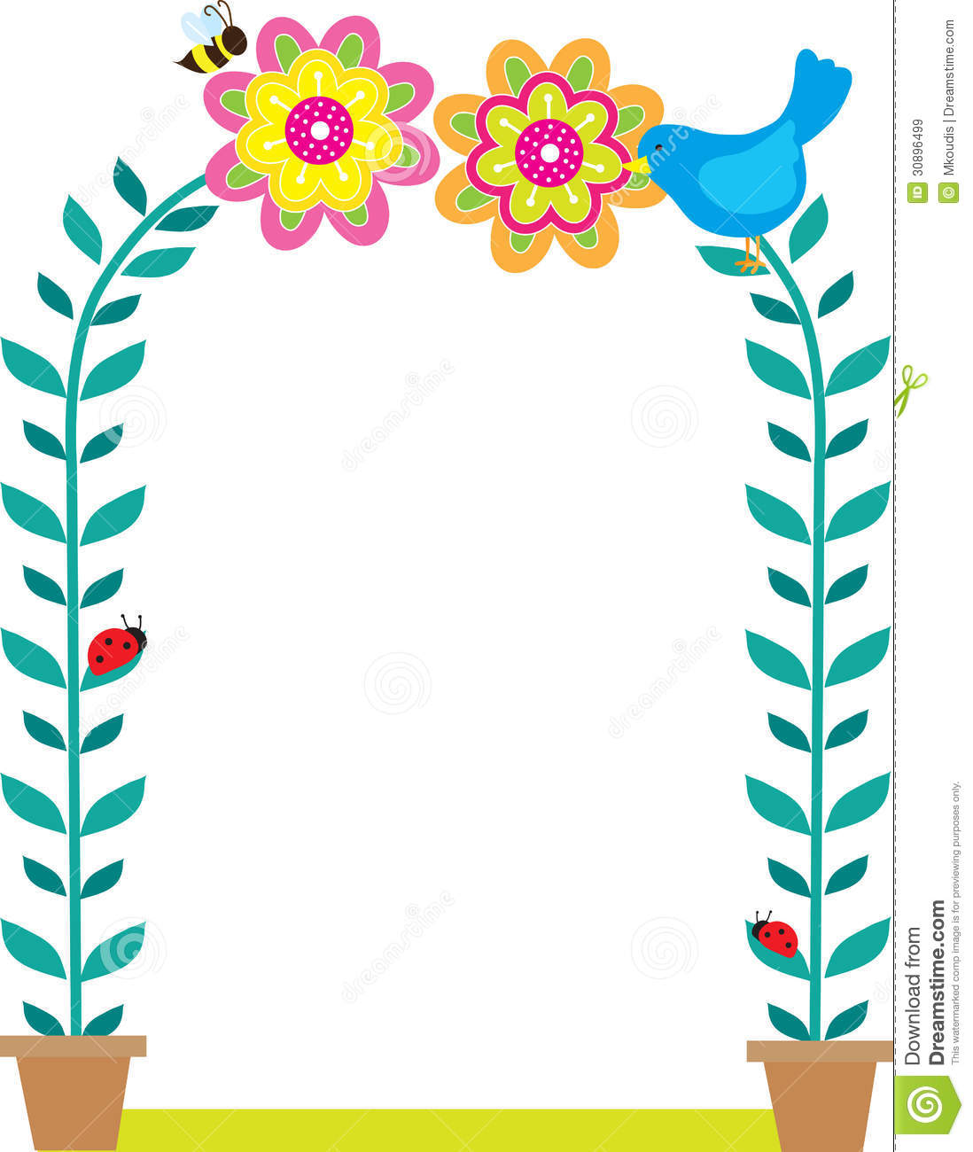 bird border stock vector illustration of frame flower