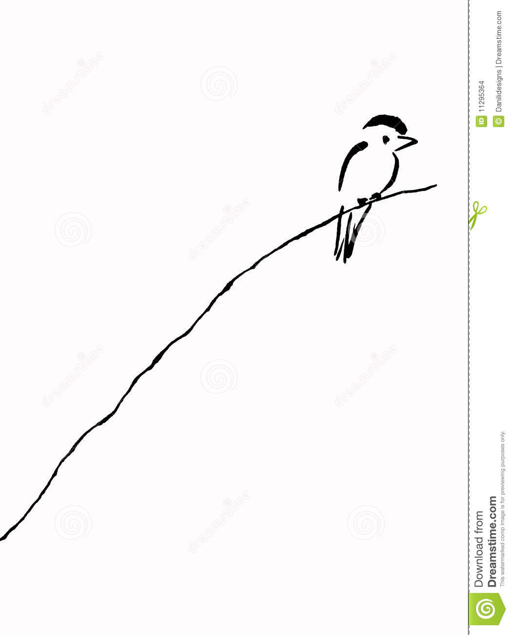 D Line Drawing Easy : Bird on branch stock illustration image of drawing sweet