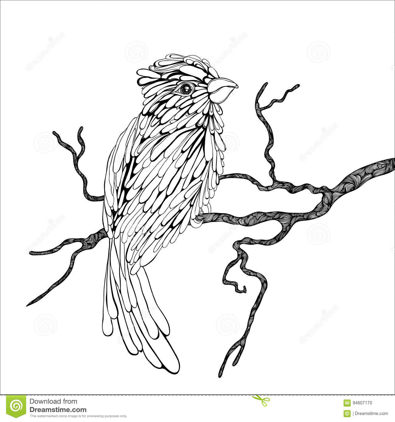Bird On A Branch Stock Vector Illustration Of Forest