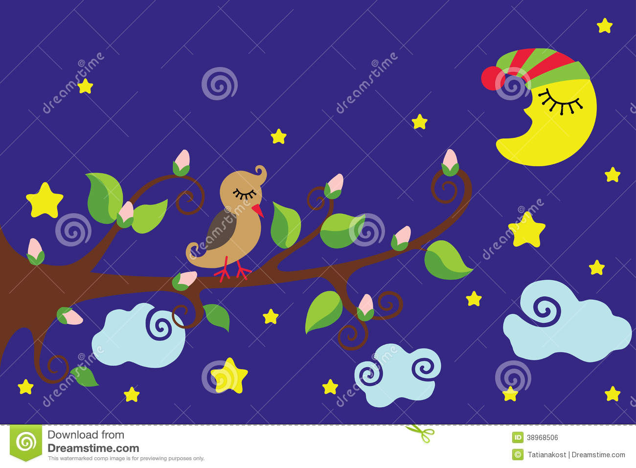 Bird On A Branch Nighttime Vector Cartoon Stock Vector Illustration Of Infantile Brown 38968506 Night owls childish cartoon characters sitting on tree branch, flat vector illustration. dreamstime com
