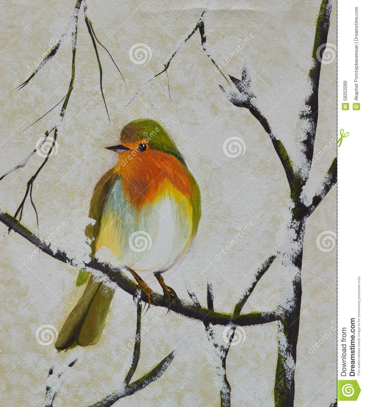 Bird on the branch oil painting on canvas