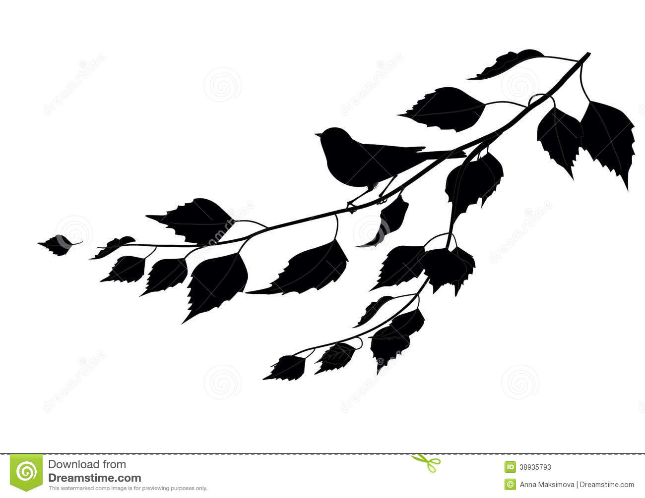 Butterfly And Flower Wall Stickers Bird On A Branch Silhouette Stock Vector Image 38935793