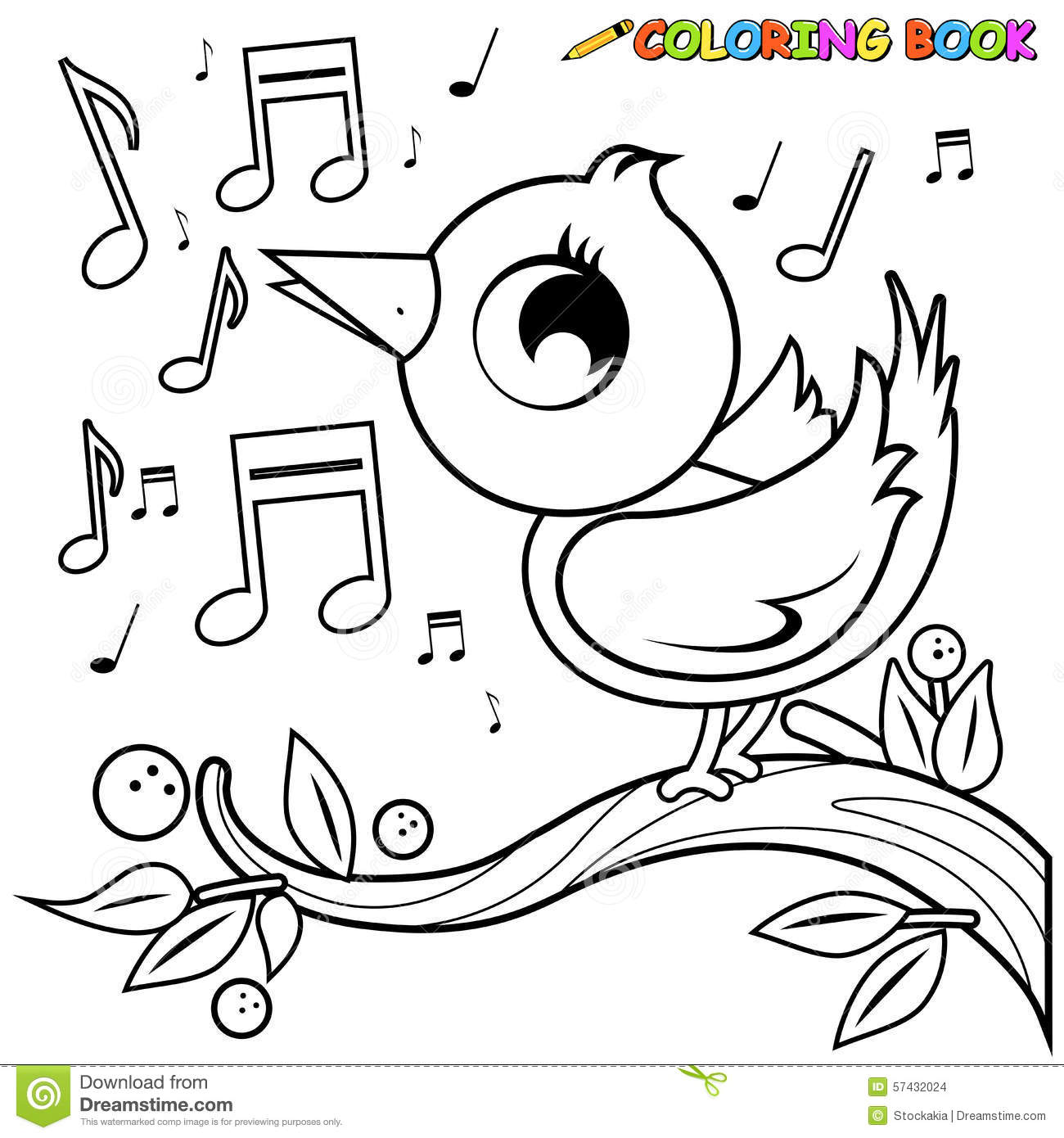 Bird On Branch Singing Coloring Page. Stock Vector - Image: 57432024