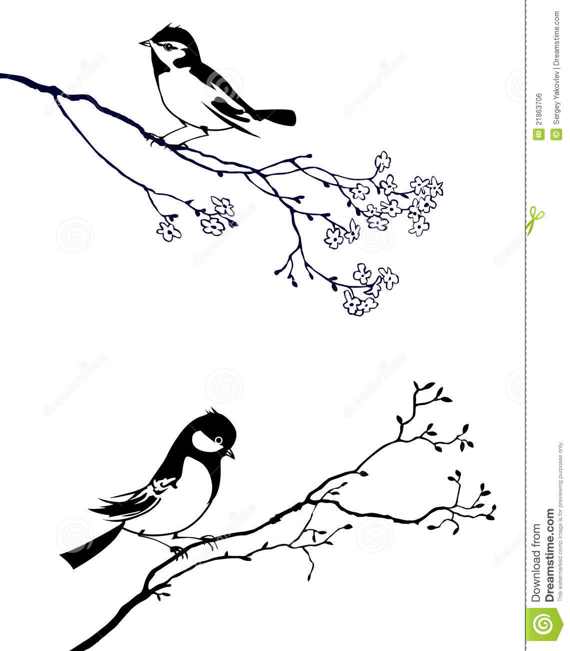 Bird on branch tree stock vector. Image of button, pattern ...