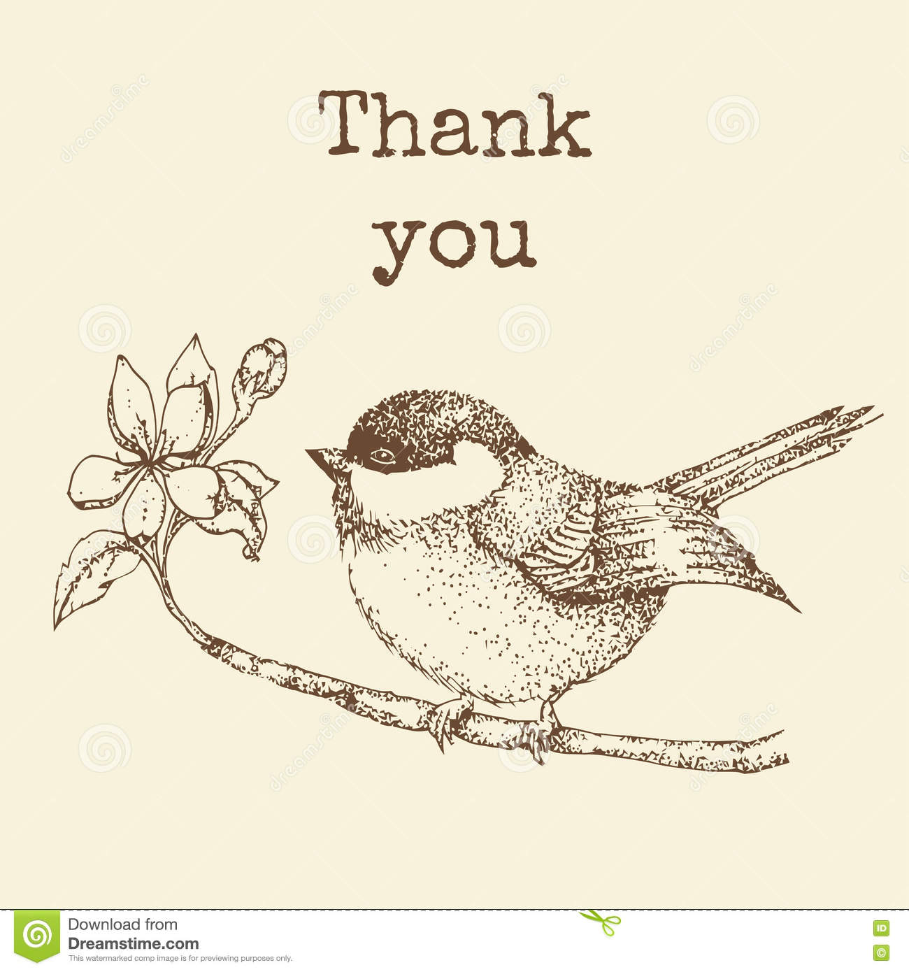 Bird On A Branch With The Words Thank You Vintage Card