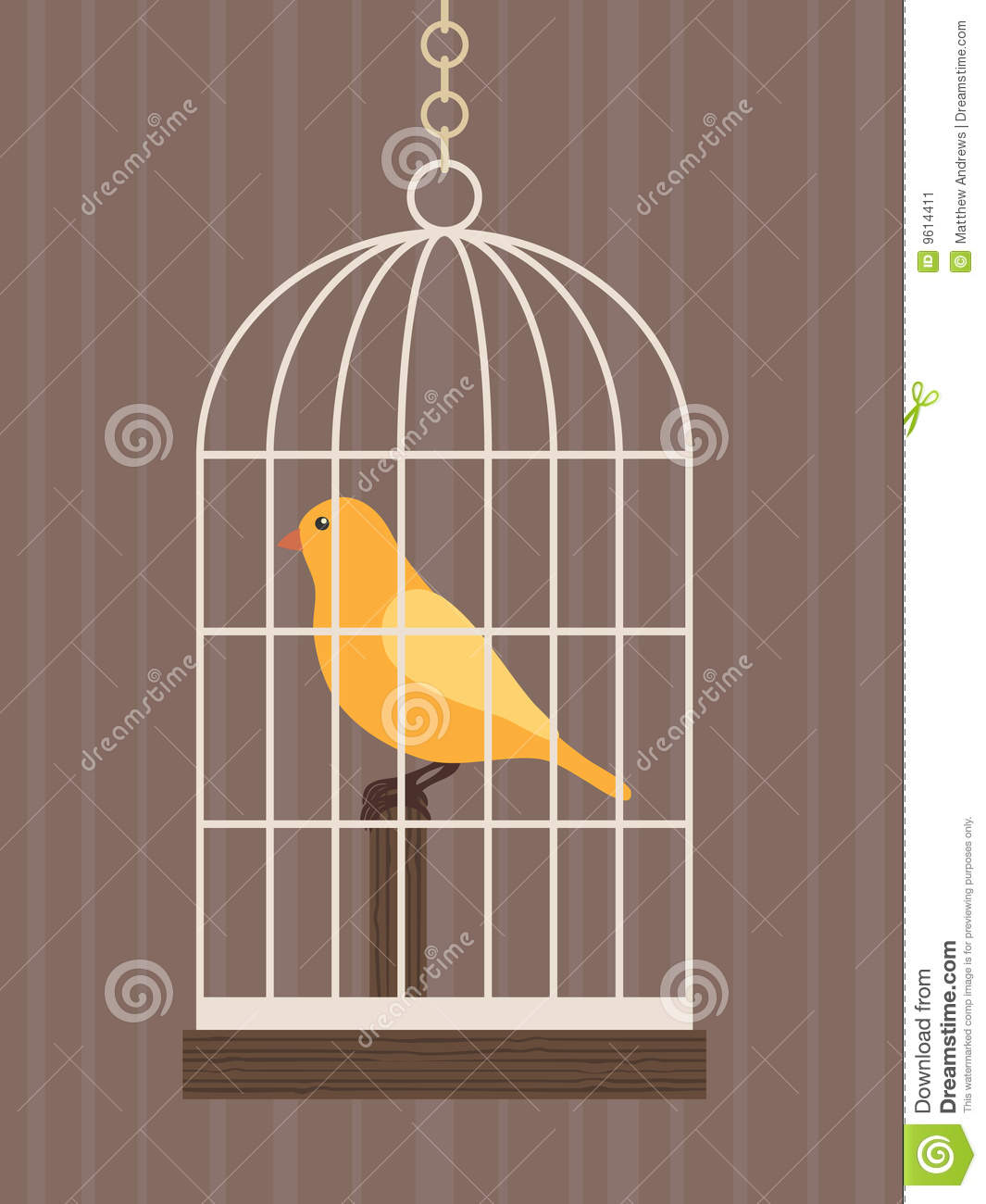 Bird In A Cage Stock Image Image 9614411