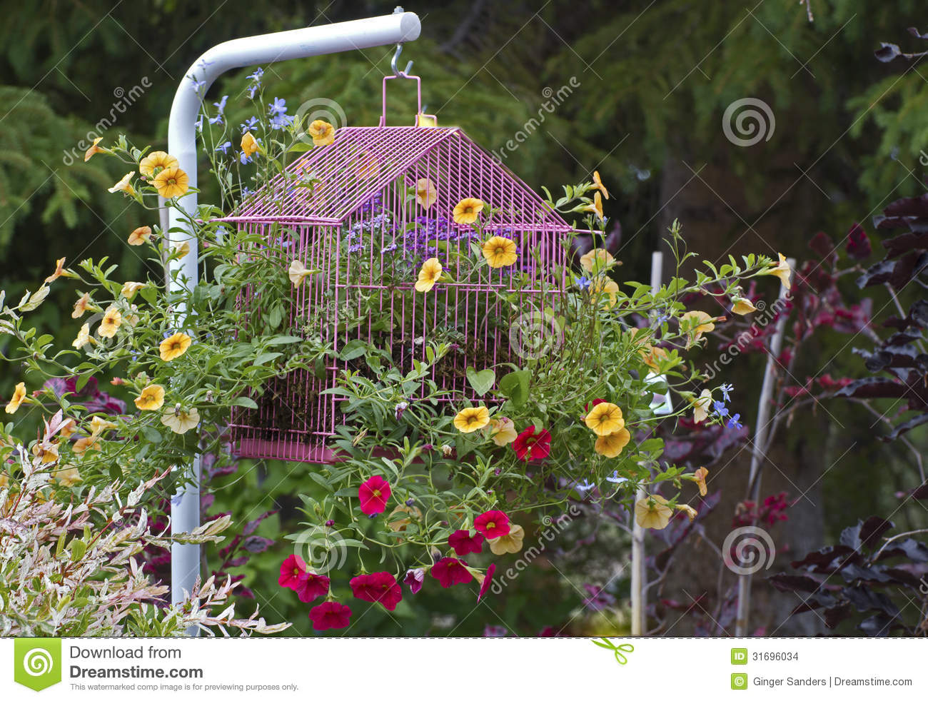 Bird cage flower garden ornament stock photo image of for Flower garden ornaments