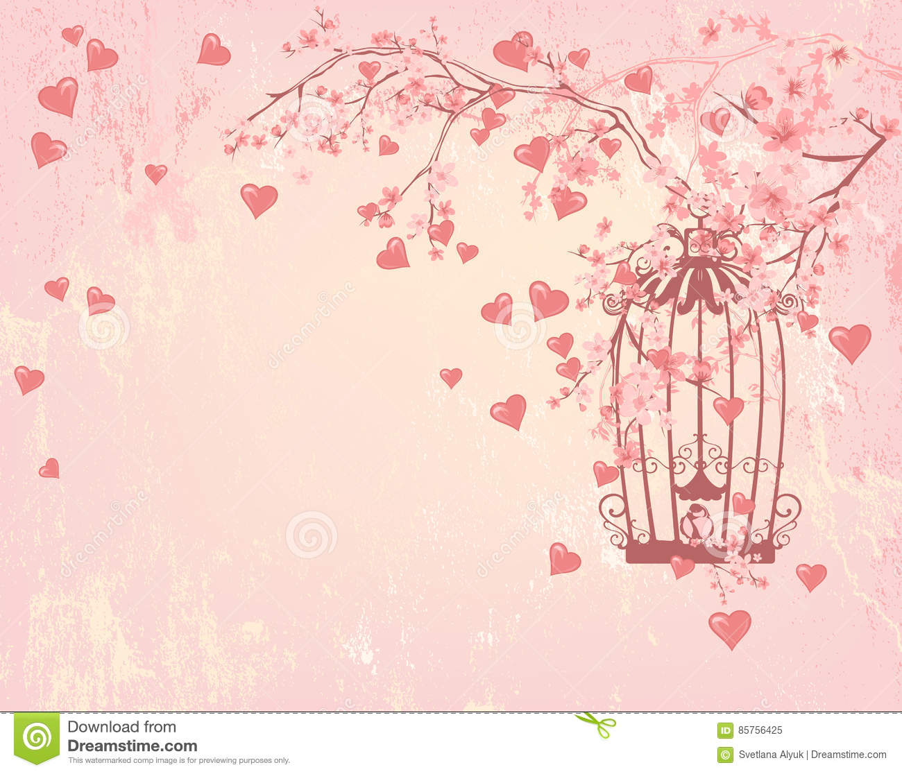Bird Cage Among Hearts Pink Flowers And Tree Branches Stock Vector
