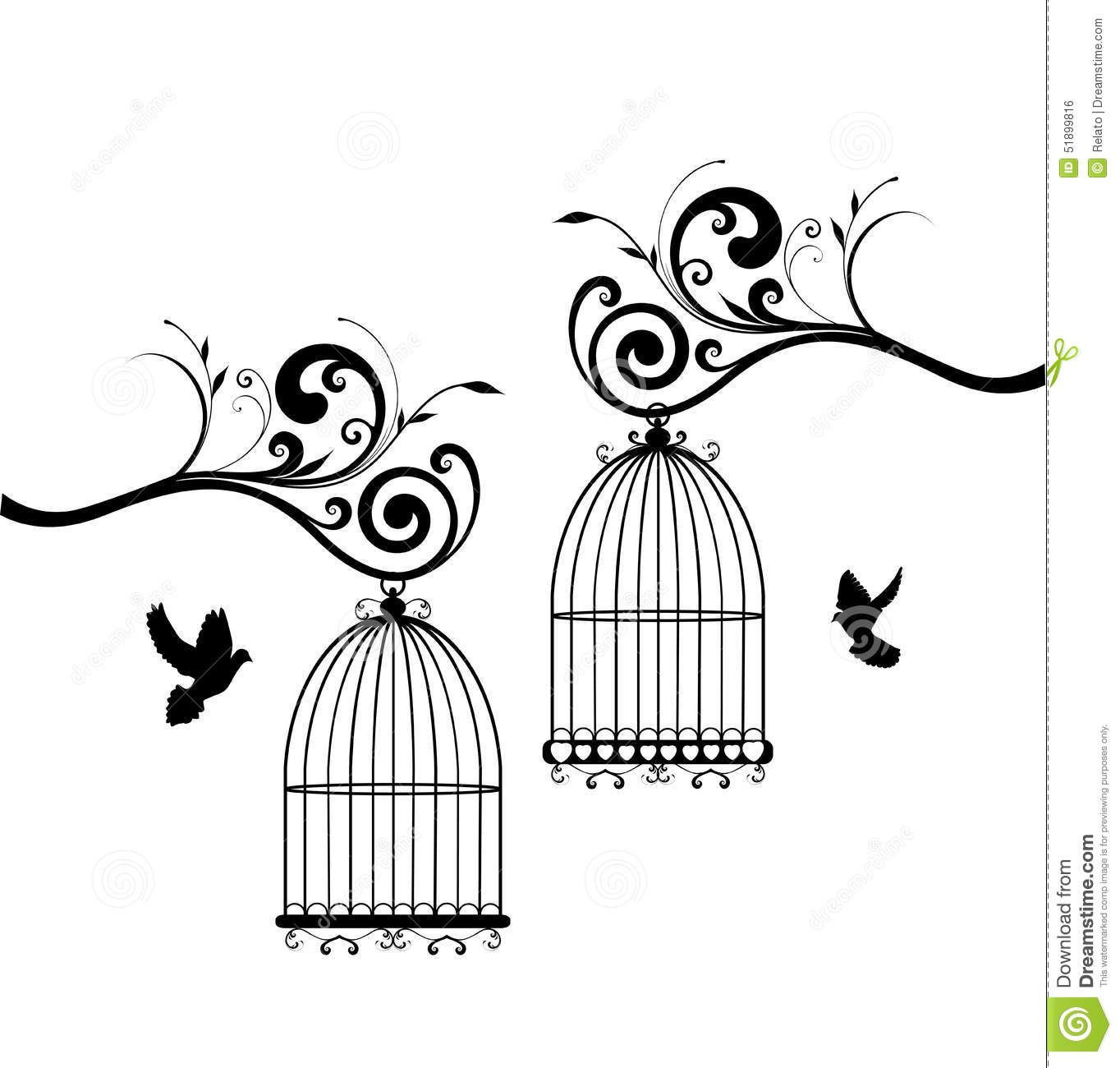 Open Concept House Plans Bird Cages Stock Vector Image 51899816