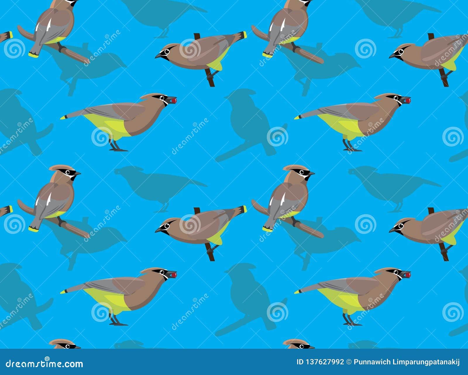 Bird Cedar Waxwing Cartoon Background Seamless Wallpaper