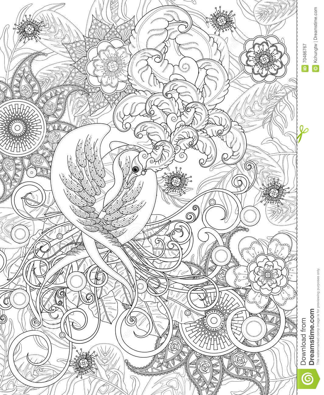 Bird Coloring Page Stock Vector Image 70486767