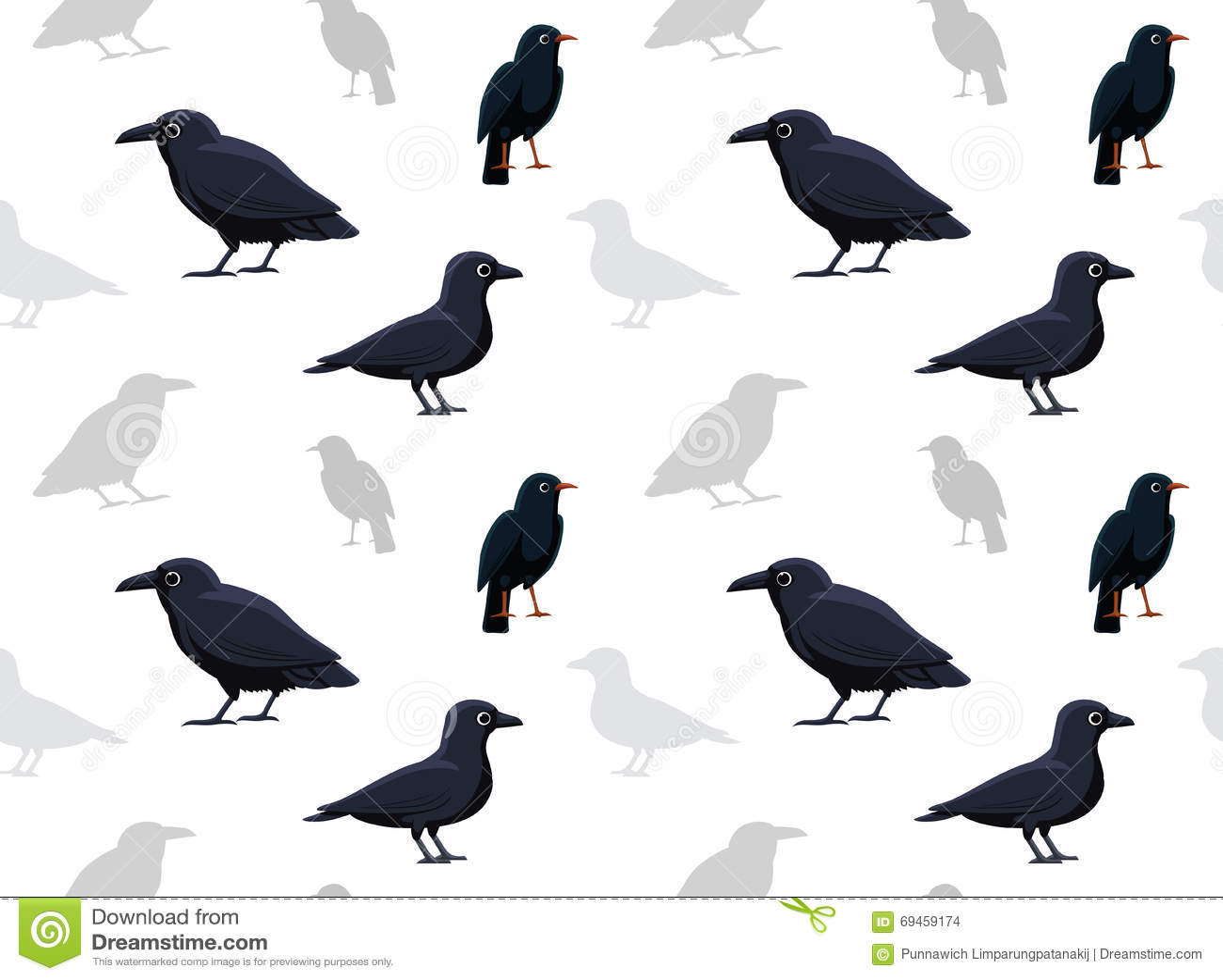 Bird Crow Wallpaper Stock Vector Illustration Of
