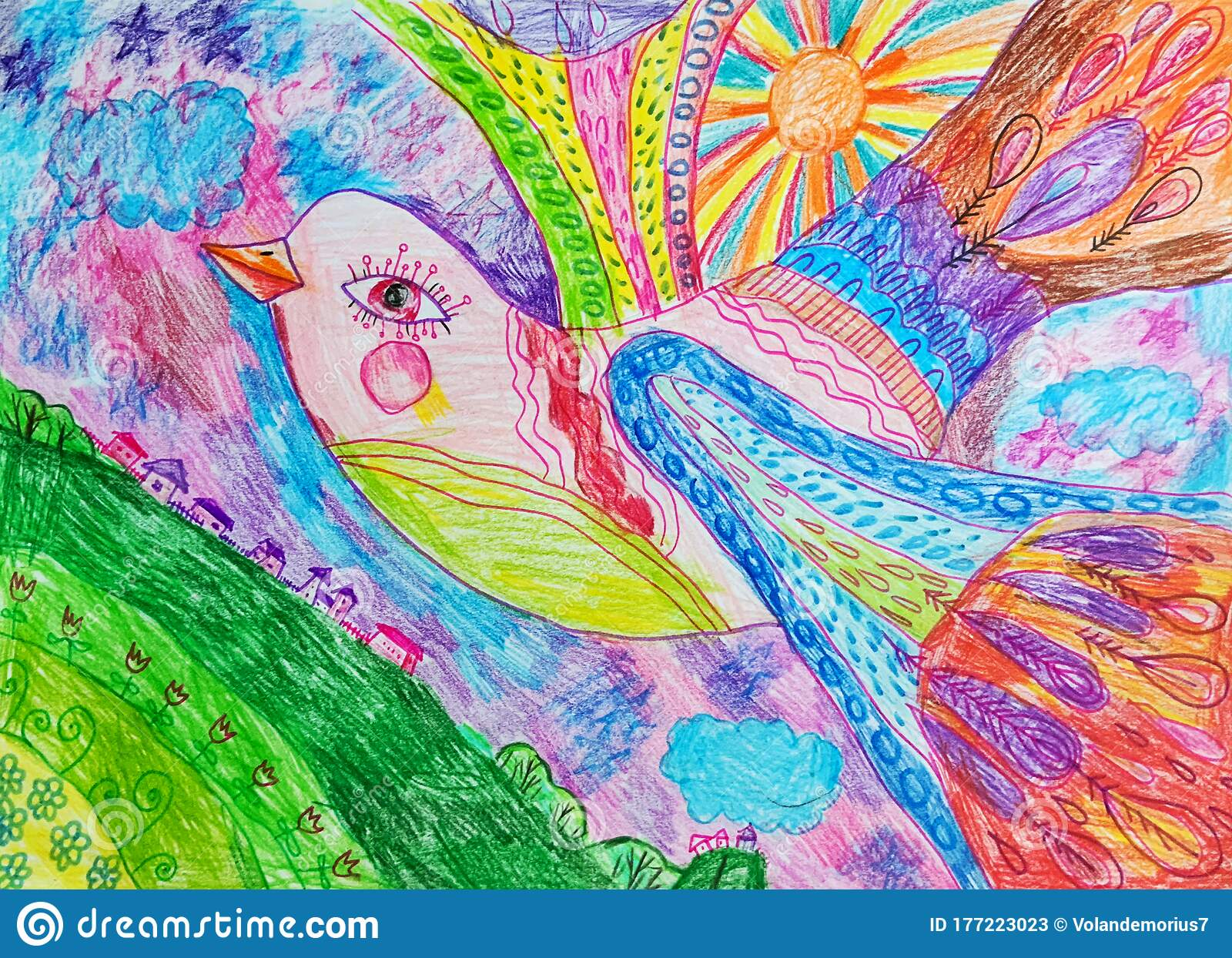 Bird Drawn With Colored Pencils Children S Drawing Stock Illustration Illustration Of Colorful Bird 177223023
