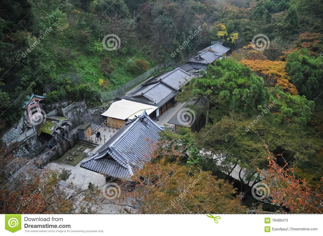 Bird eye view perspective of Japanese ancient buildings in Kyoto