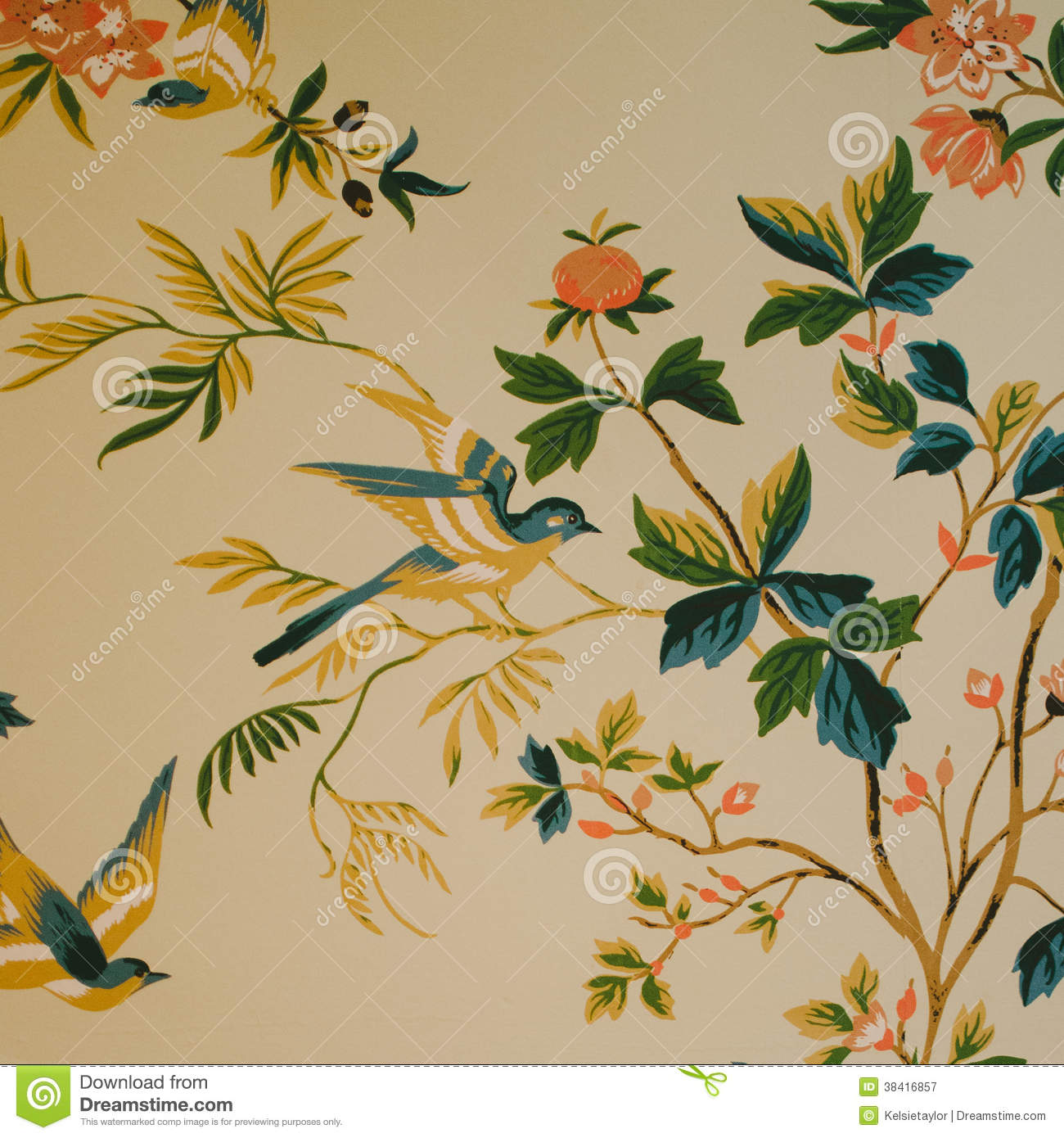 bird & flower print wallpaper stock image - image of leaf, flower