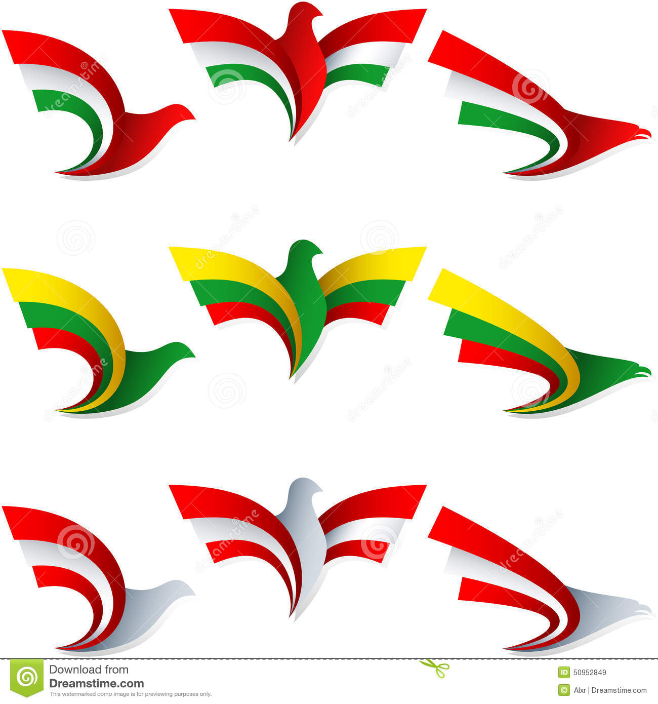 Bird Fly Flag Sign Symbol Insignia Hungary Lithuania