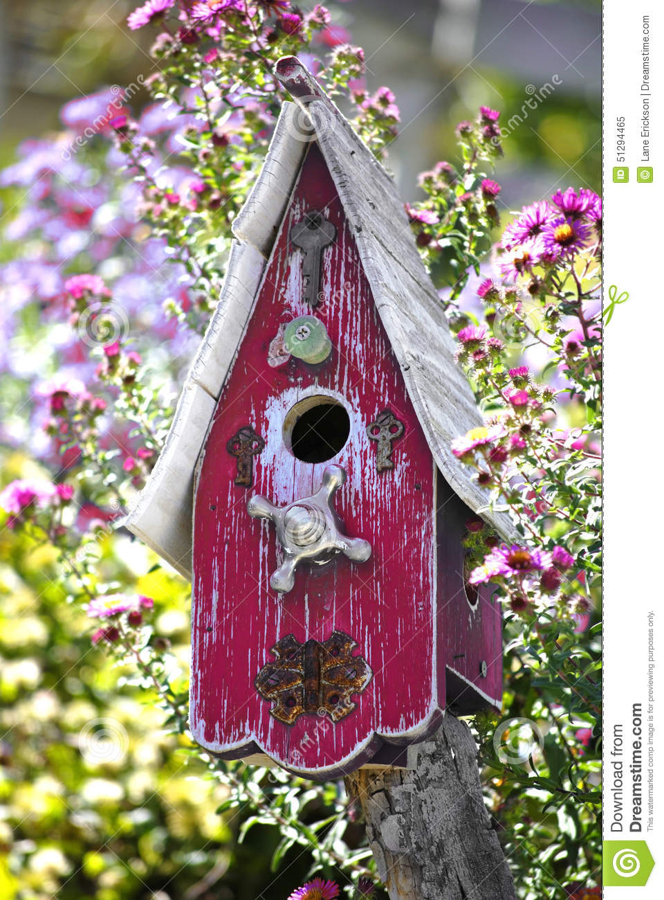 Bird house in flowers garden stock photo image 51294465 for Classic house with flower garden