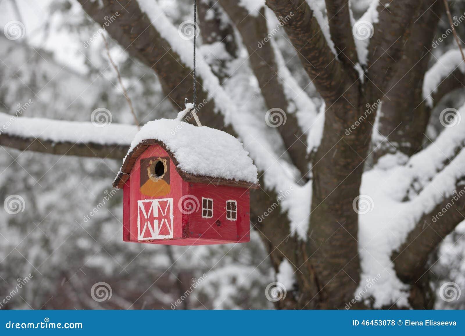 Bird house on tree in winter