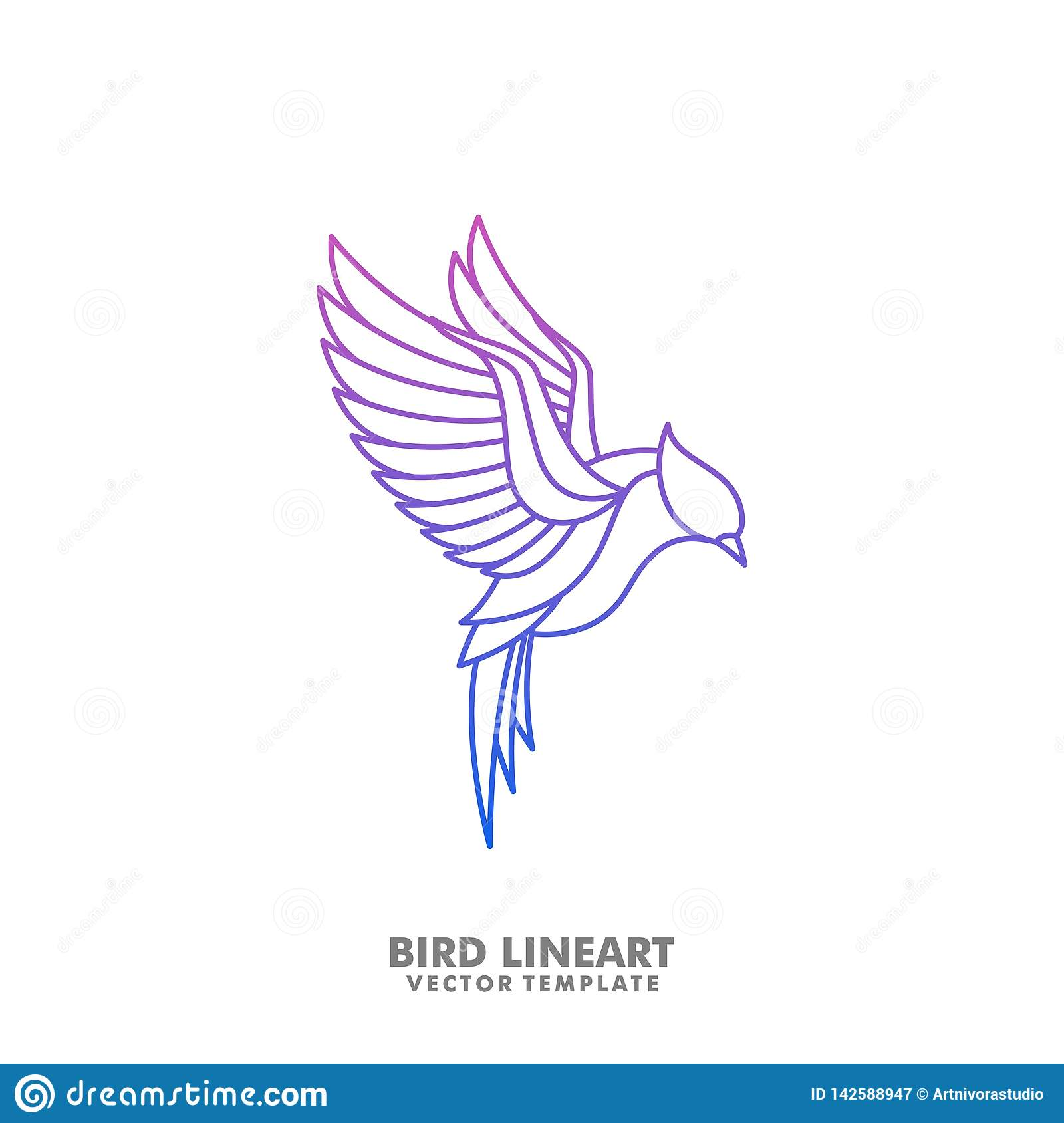 Bird Line art Mono illustration vector Design template