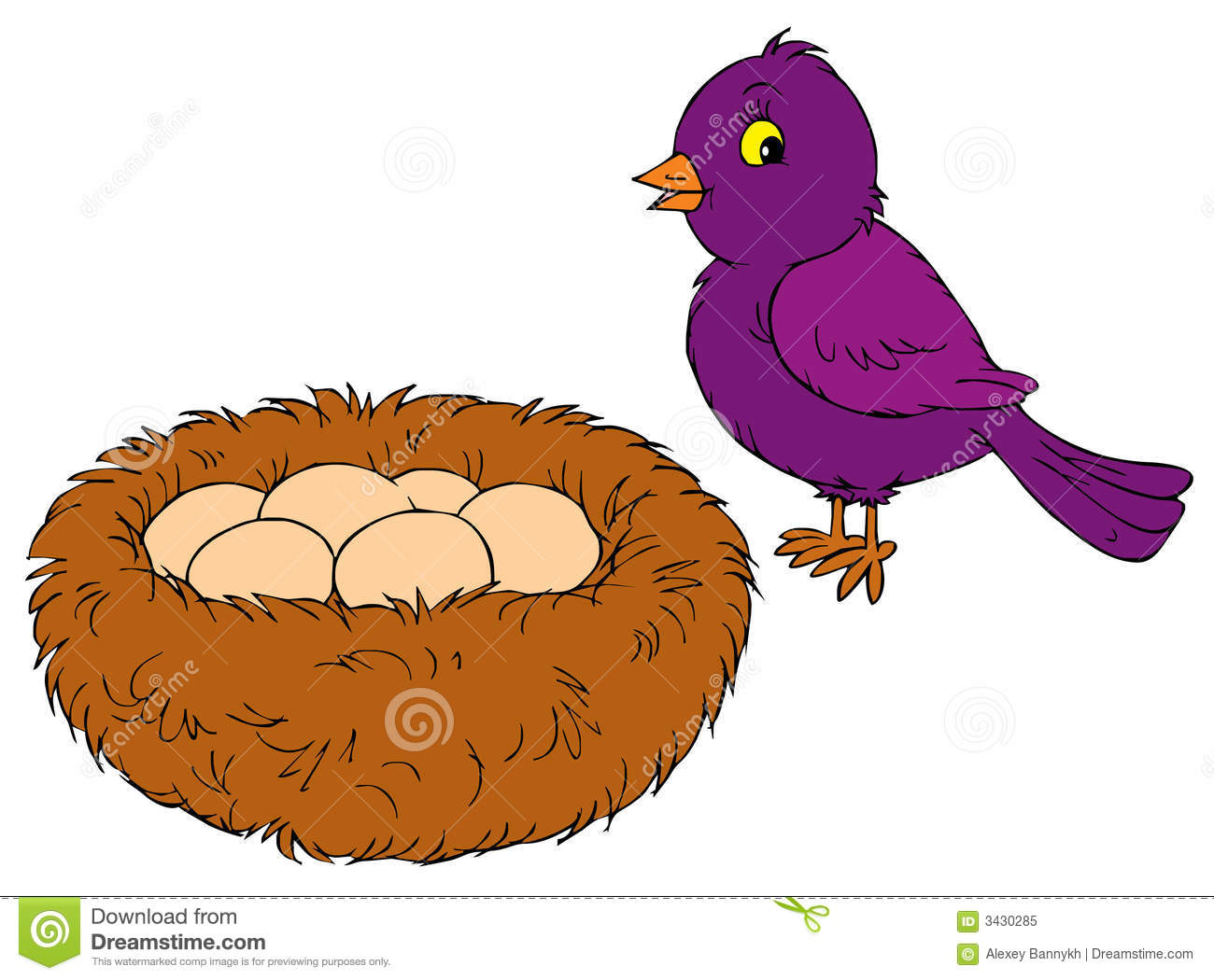 Bird And Nest (vector Clip-art) Royalty Free Stock Photo - Image ...