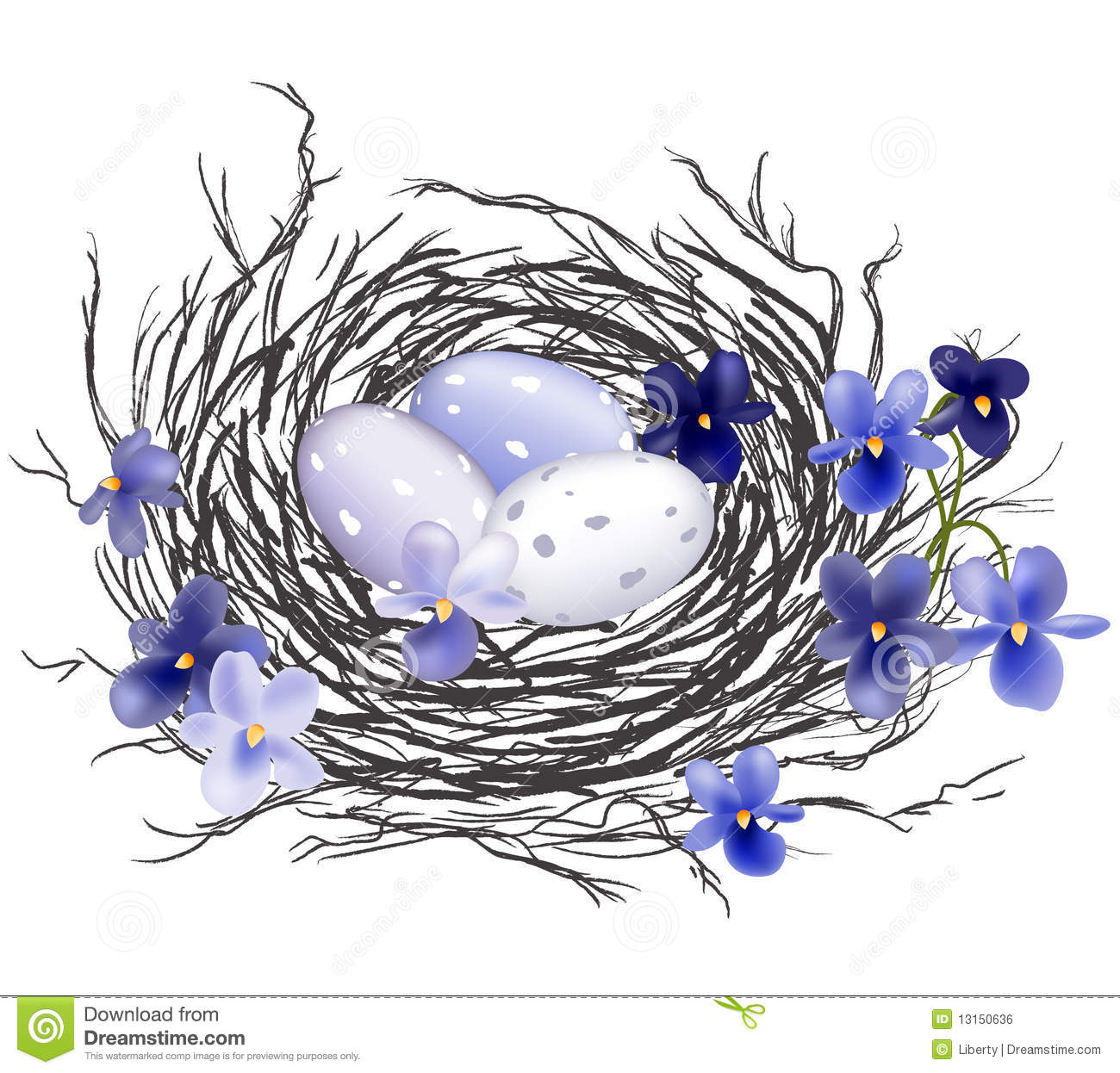 Bird Nest With Violets Royalty Free Stock Image - Image: 13150636