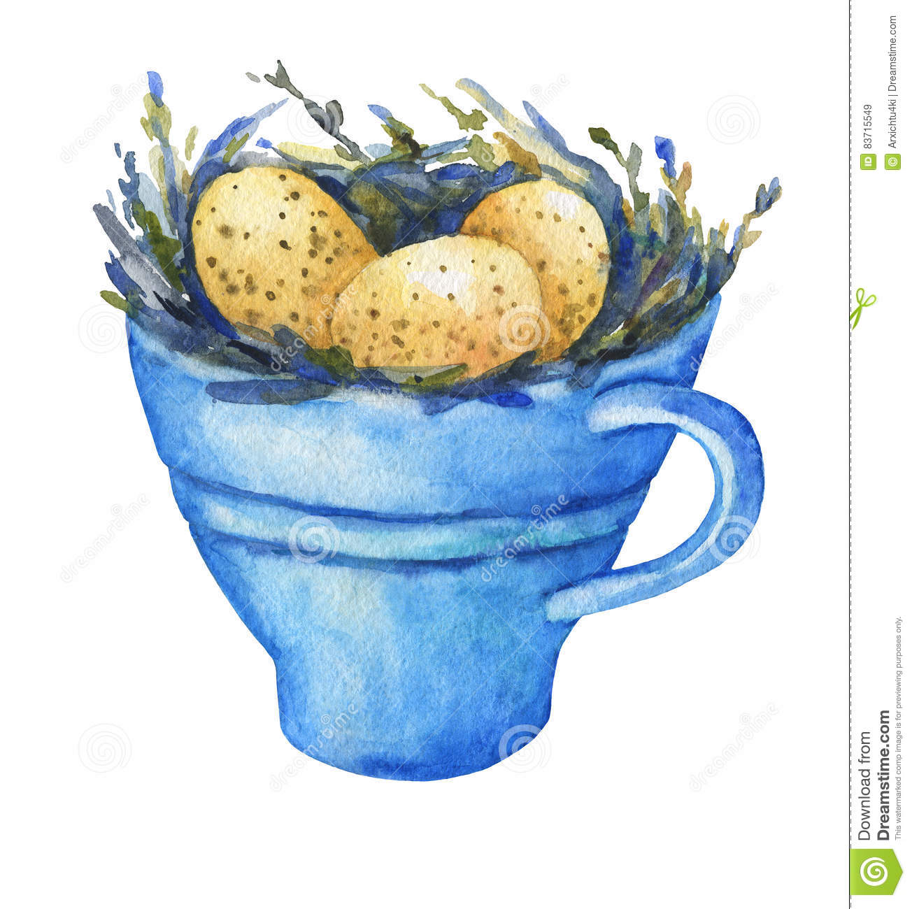 Bird Nest With Yellow Eggs In A Blue Cup, Home Decor For Easter. Stock Illustration