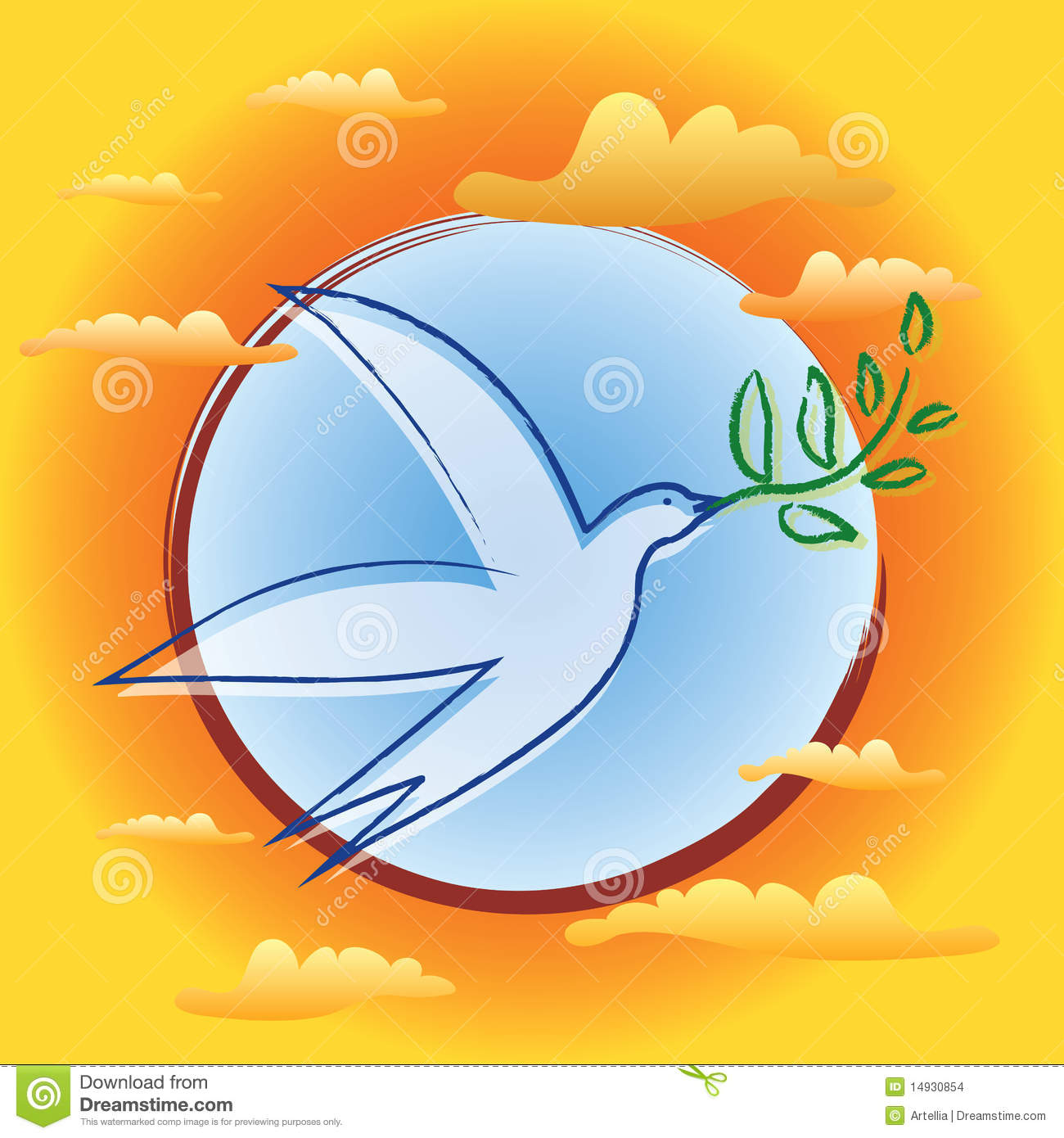 Bird With Olive Branch Symbol Of Peace Stock Vector Illustration