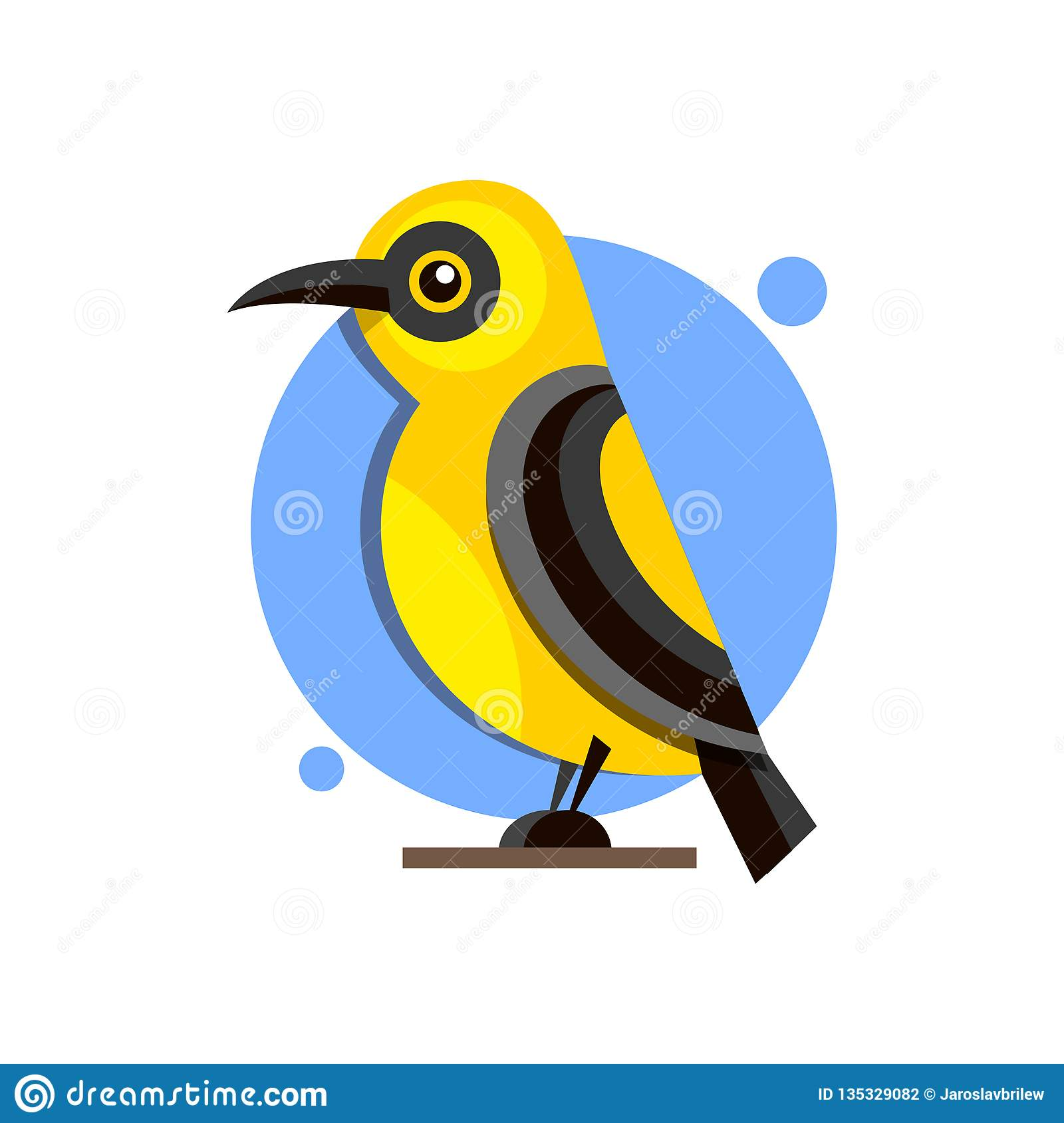 Bird Oriole on the branch flat style logo for design