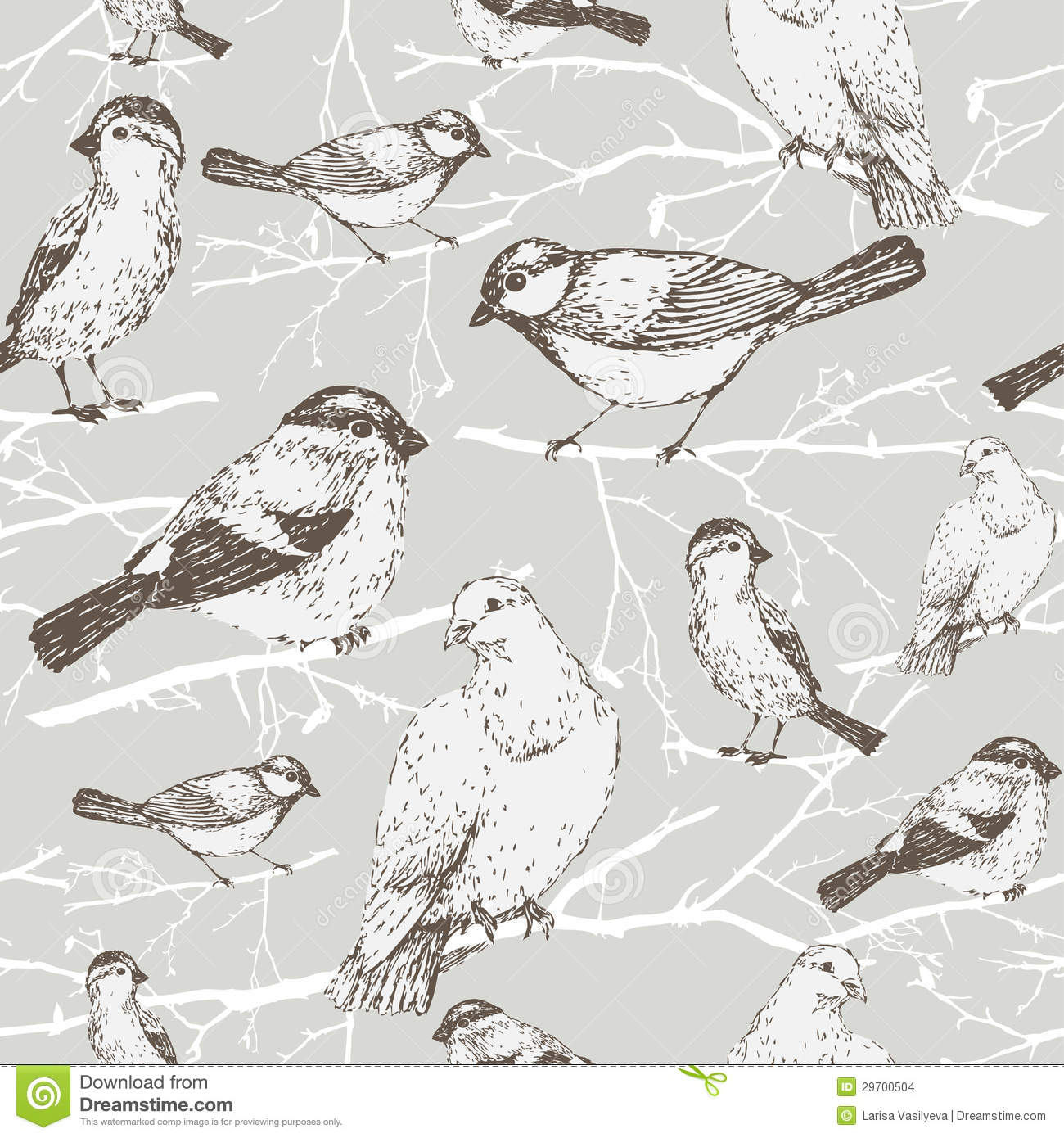 vintage pattern with little swallows seamless pattern with bird