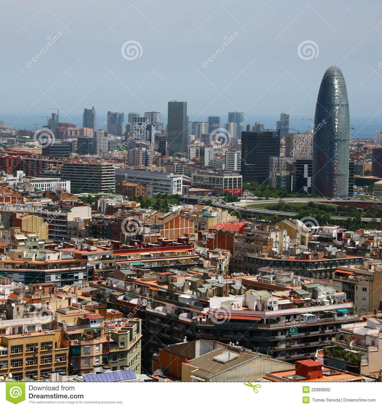 Birds Eye View Barcelona: Bird's Eye View Of The Agbar Tower In Barcelona Stock