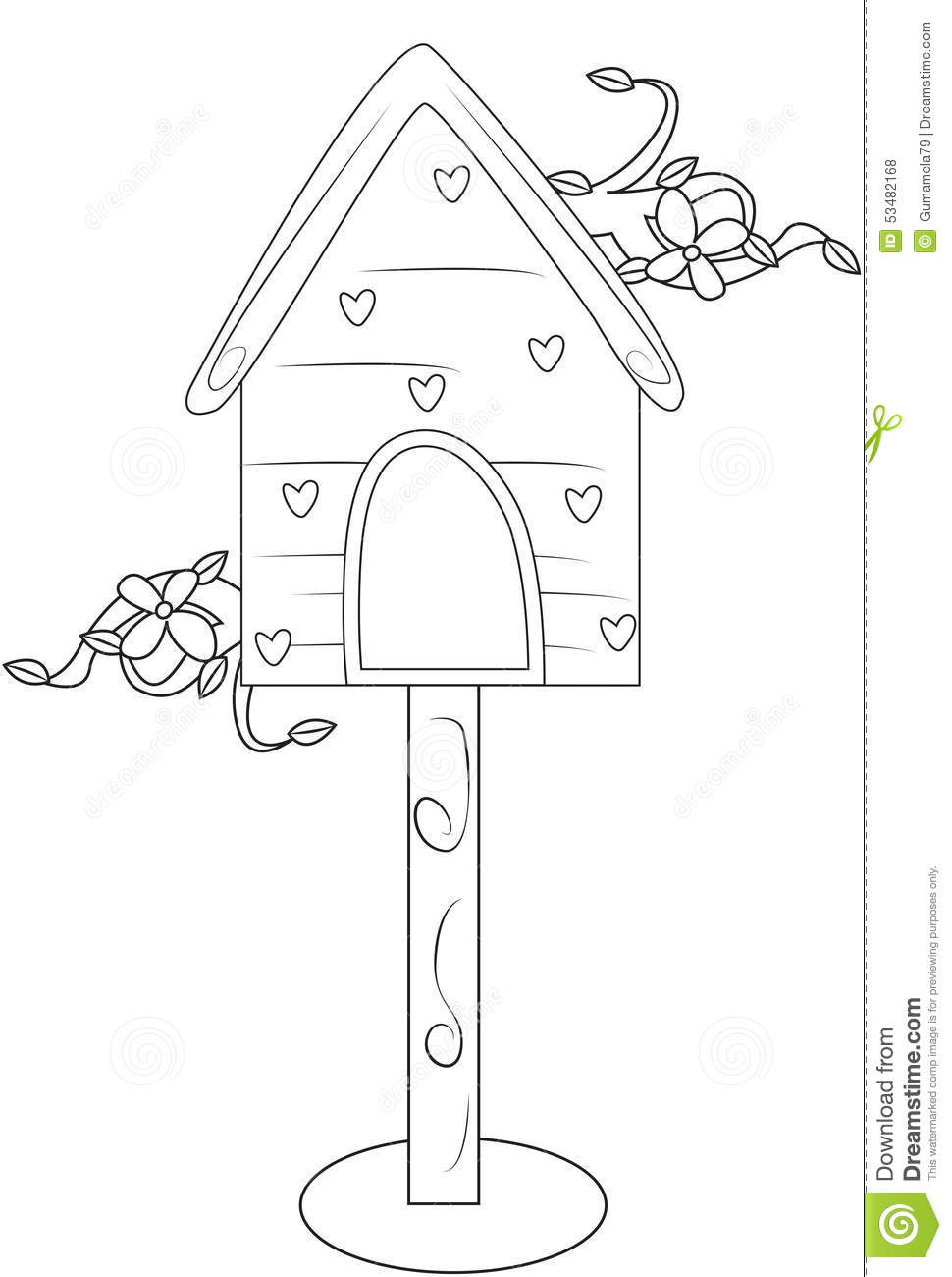 Bird S House Coloring Page Stock Illustration Image
