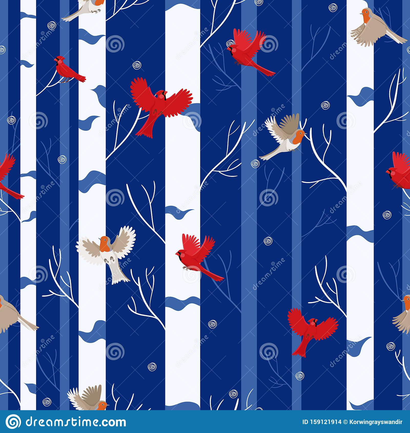 Bird seamless pattern red cardinal and robin in the winter forest