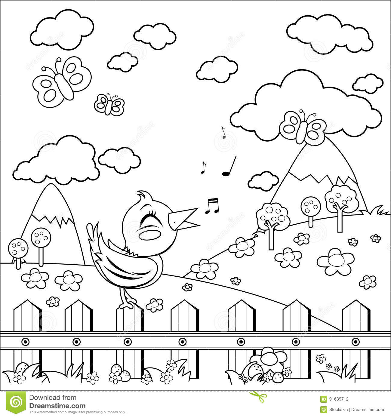 Bird sitting on a fence and singing in the countryside. Coloring book page