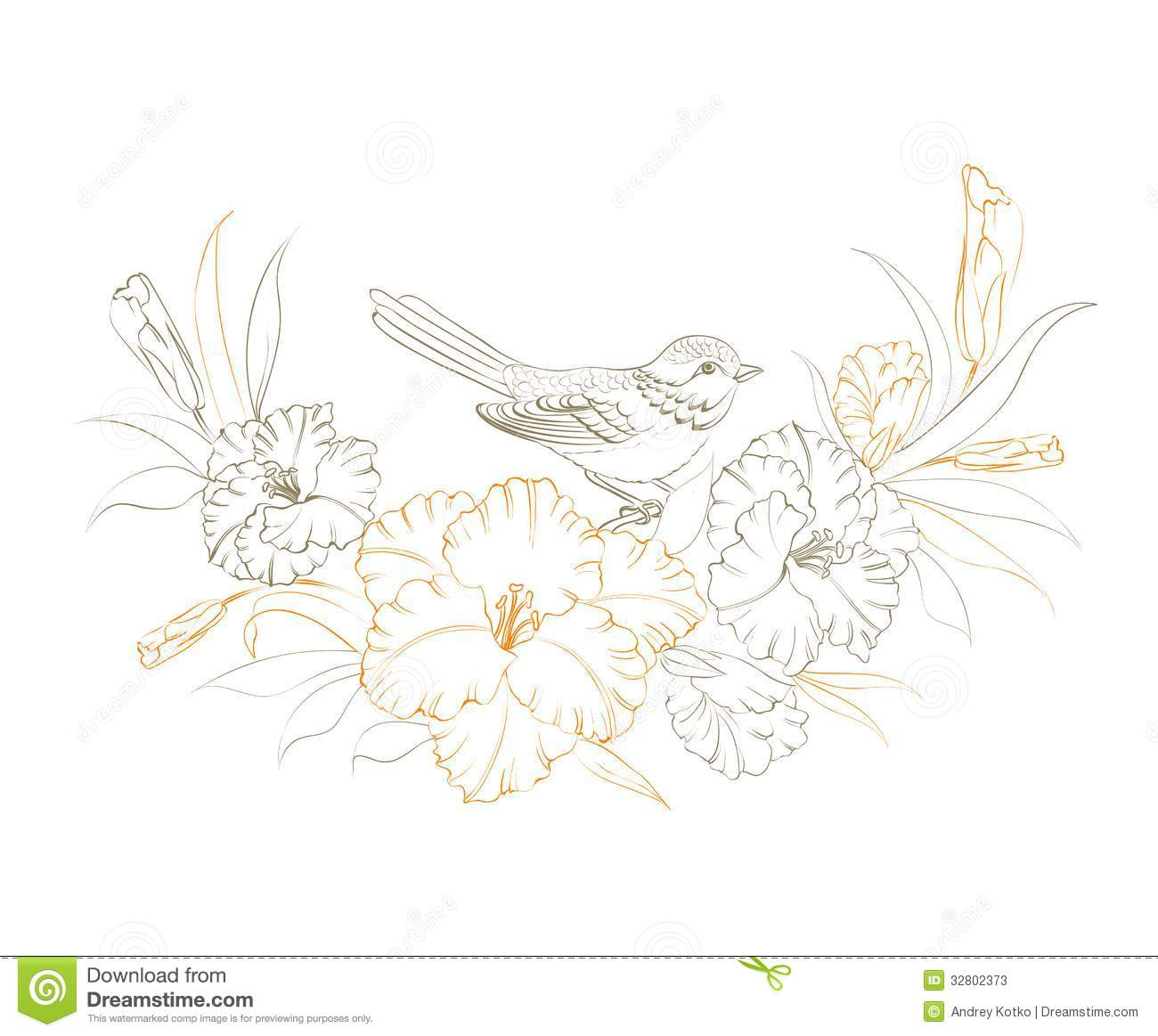 Bird sitting on iris flower vector illustration