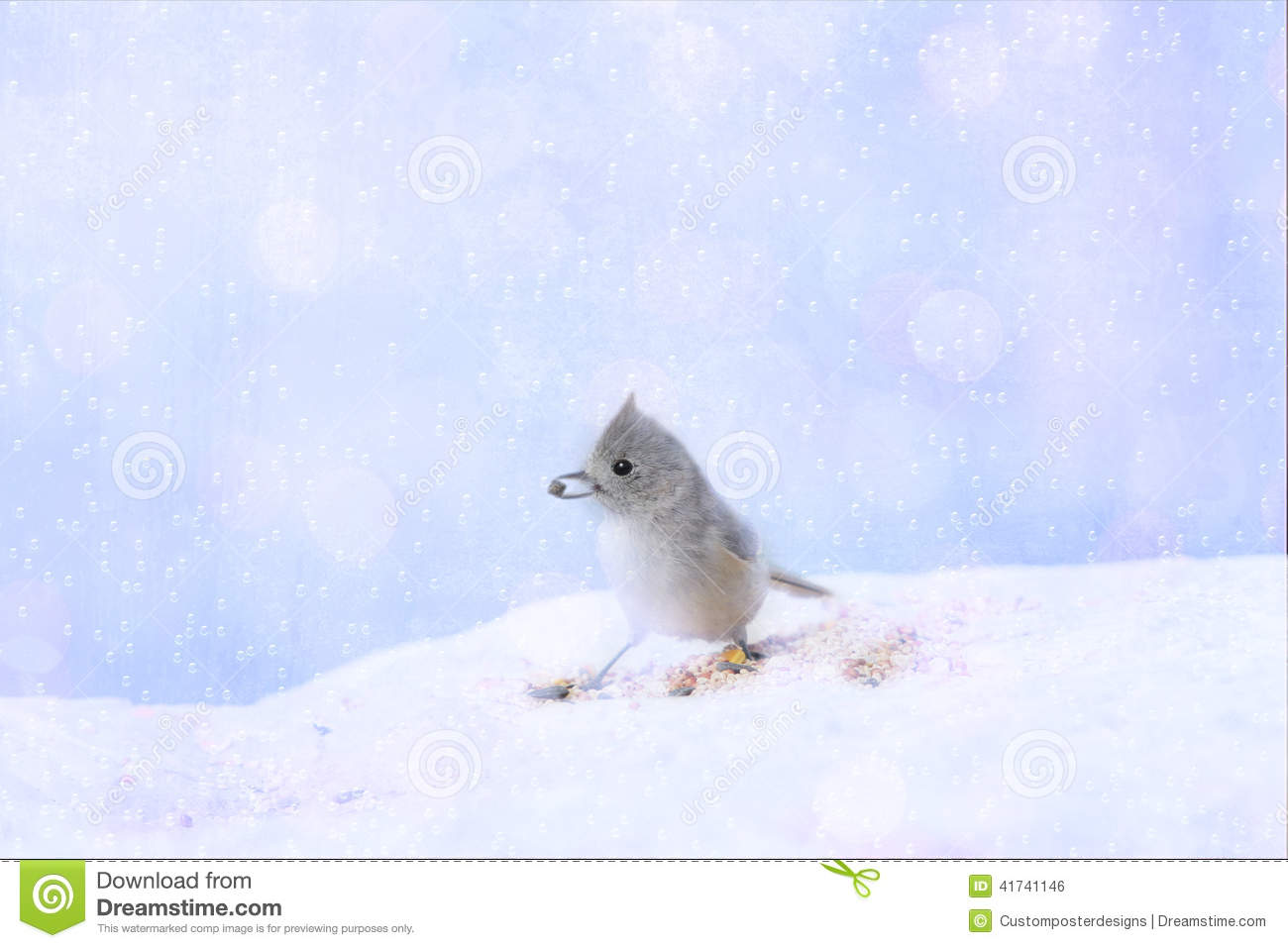 Download Bird in the snow stock photo. Image of designed, textured - 41741146