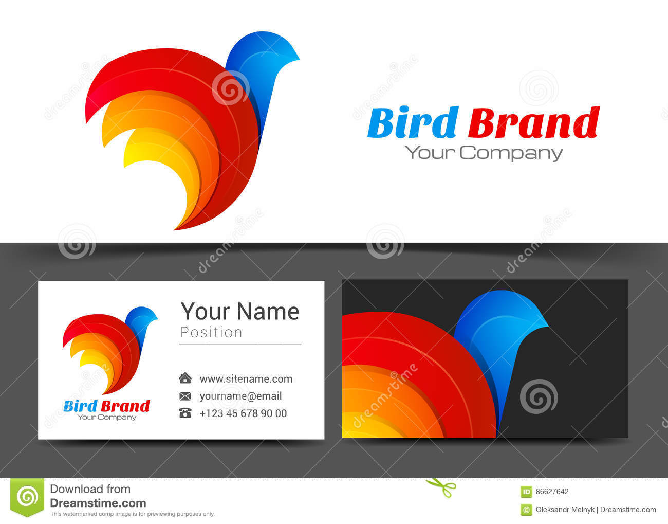 Bird Stylized Corporate Logo and Business Card Sign Template.