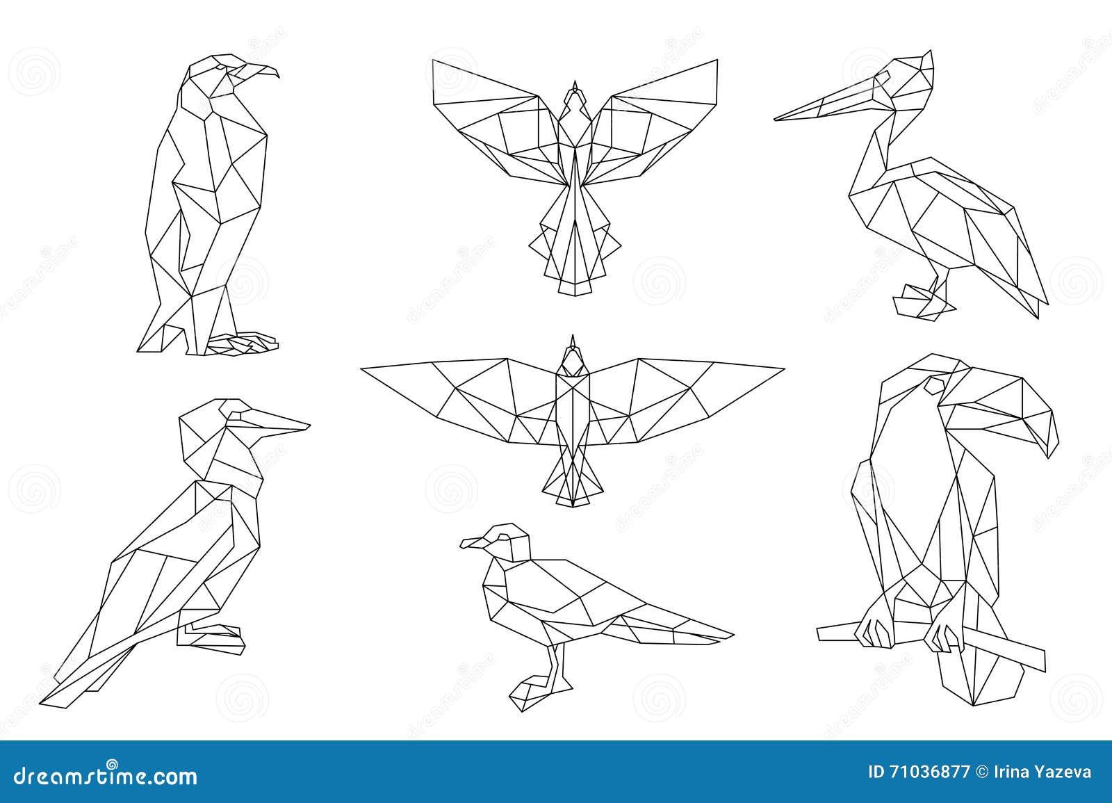 Геометрические птицы рисунок