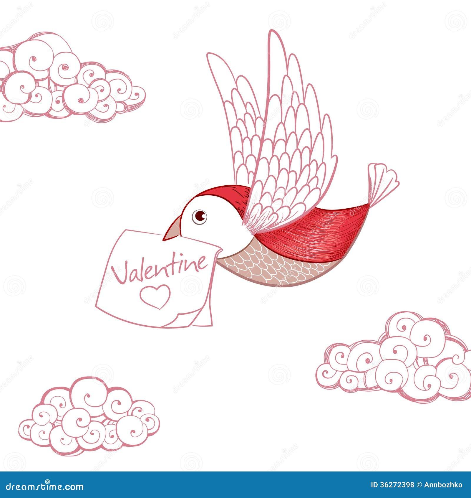Bird With Valentine Card Royalty Free Photos Image 36272398 – Bird Valentine Card