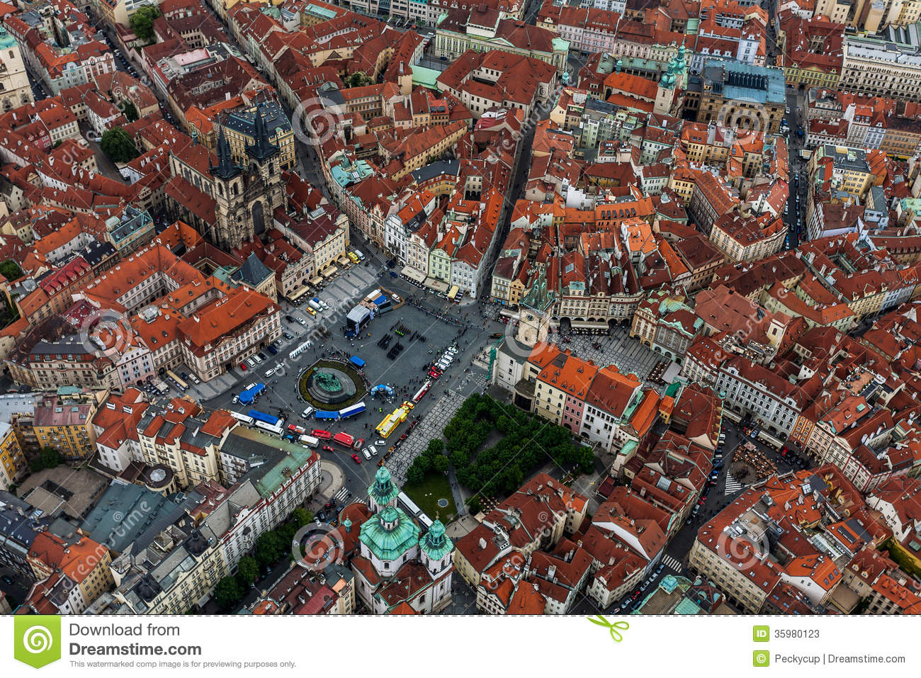 Bird View Of Old Town Square Stock Image Image Of Bird