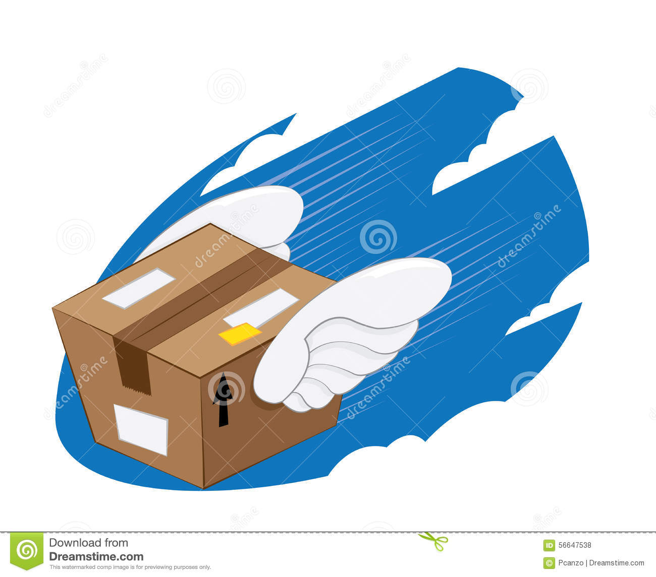 Bird Wings Package Express Delivery Stock Vector Image