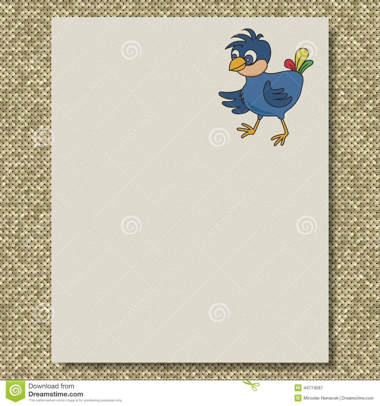 bird writing paper knit texture background stock illustration