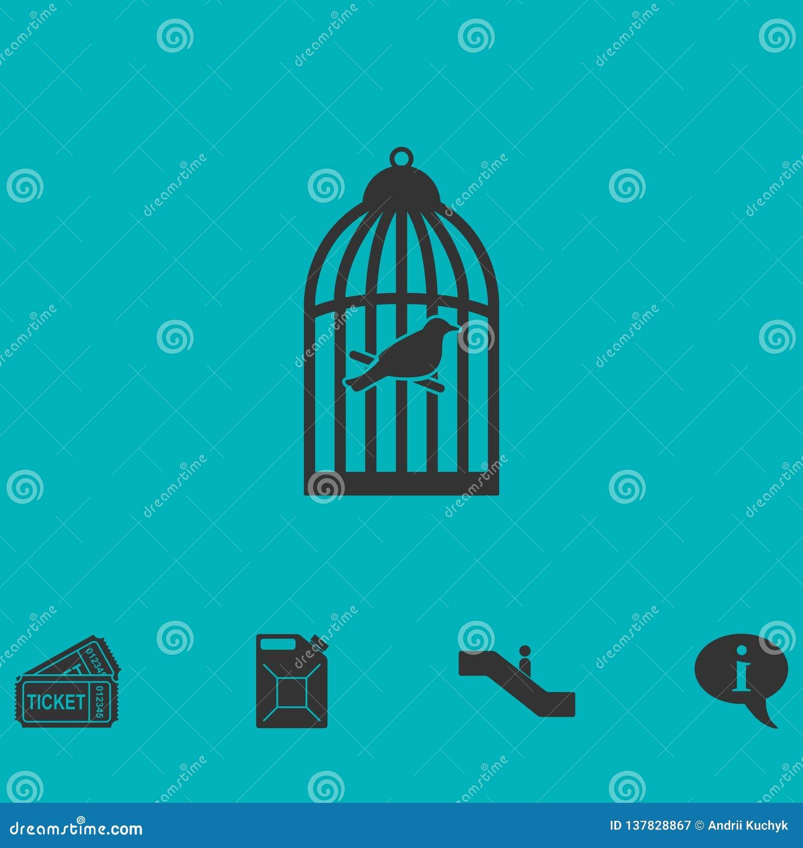 Birdcage icon flat