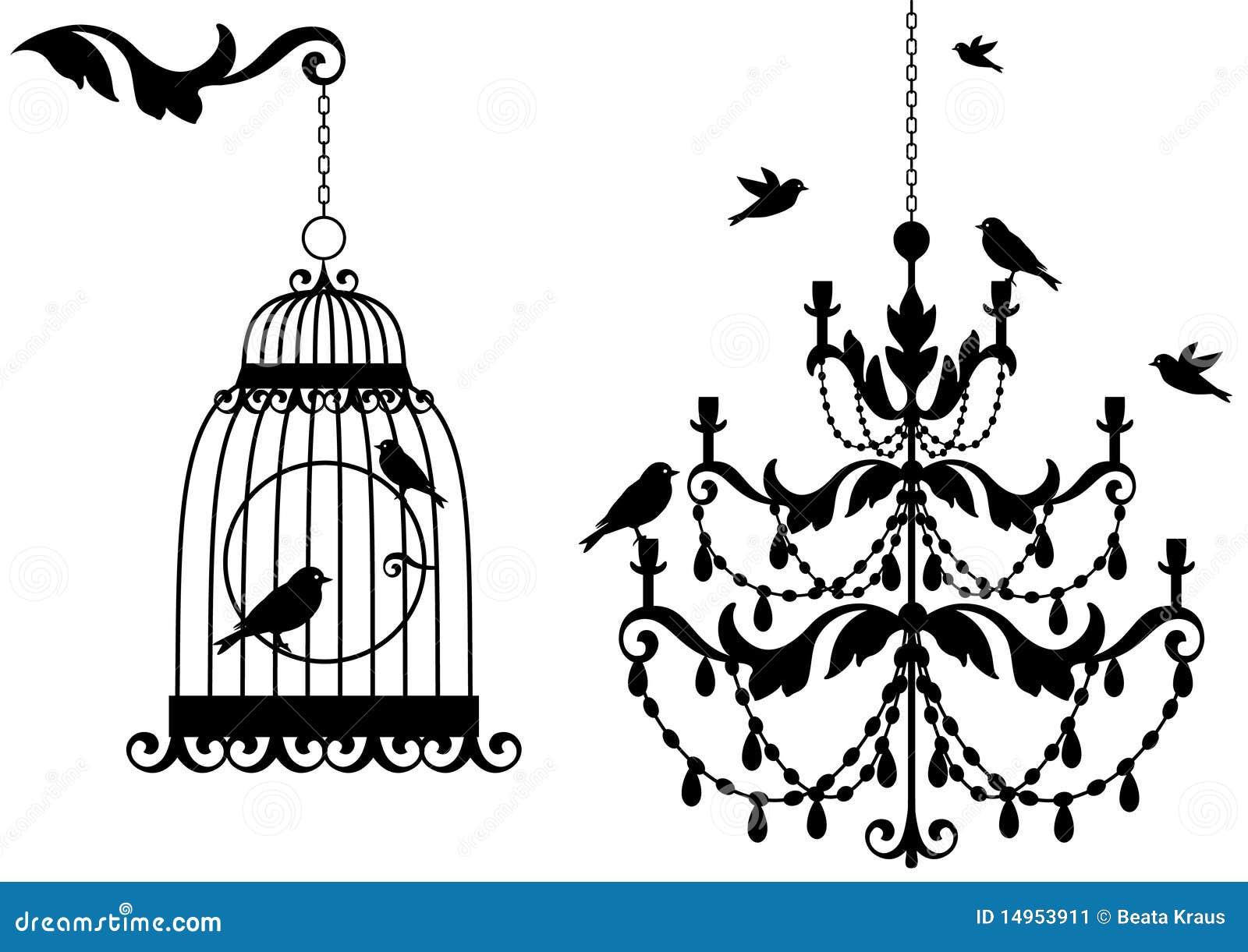 Birdcage y lámpara antiguos,