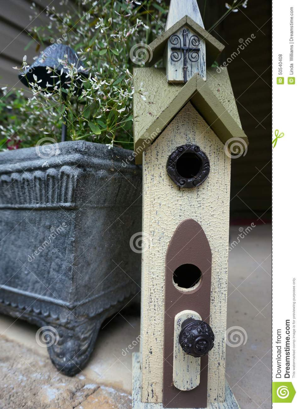 Birdhouse made from found items stock photo image 50540408 for Bird home decor
