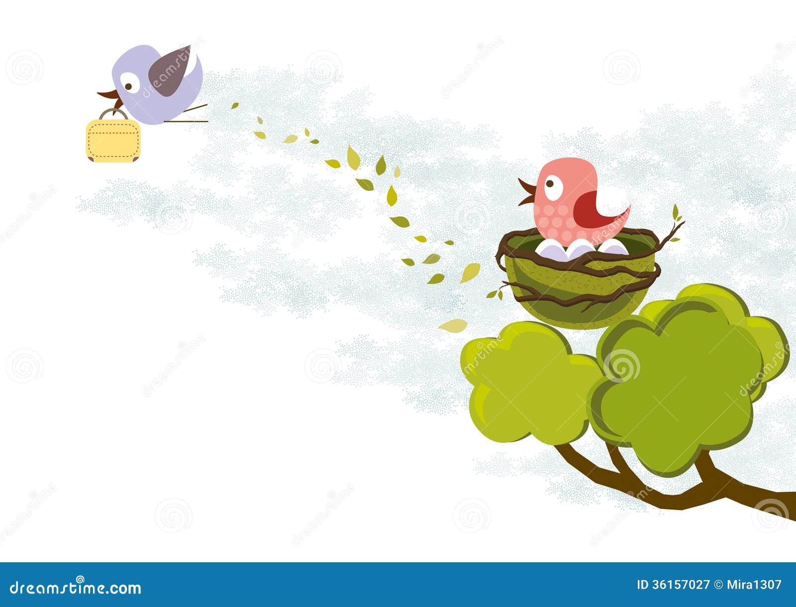 Baby birds flying from nest