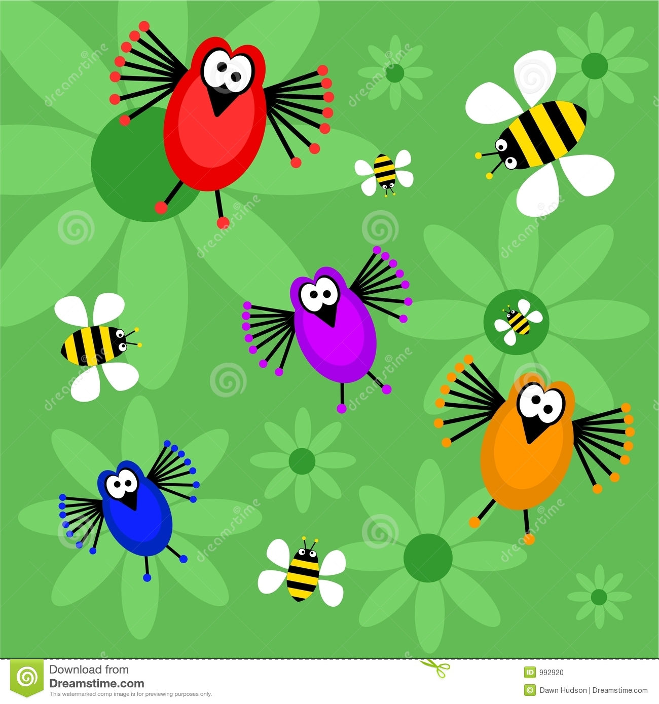 Birds and bees stock photo. Image of illustrations